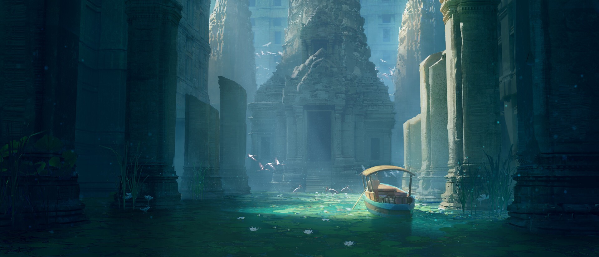 A boat in an ancient flooded temple.