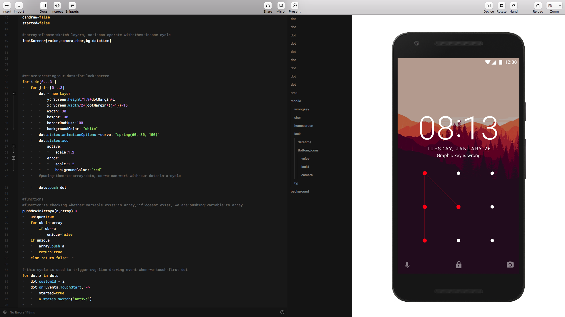 Using FramerJS and SVG to create android unlock screen