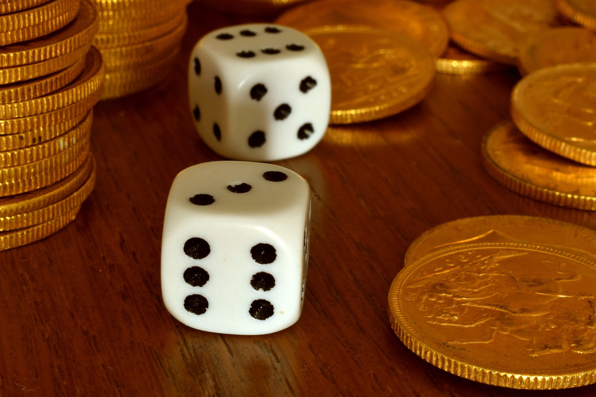 Two dice and coins