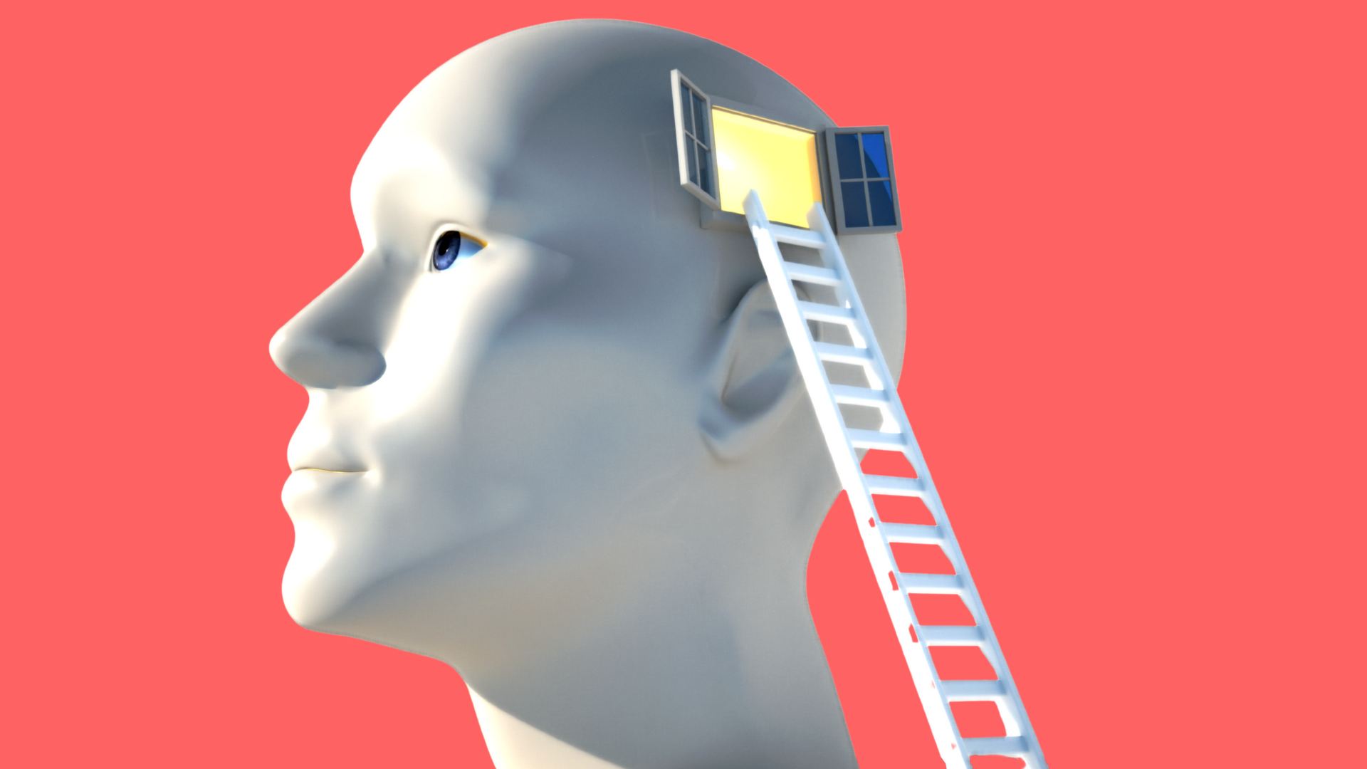 Image of a white mannequin head that has an open window on the side of the head and a ladder leaning up against it.