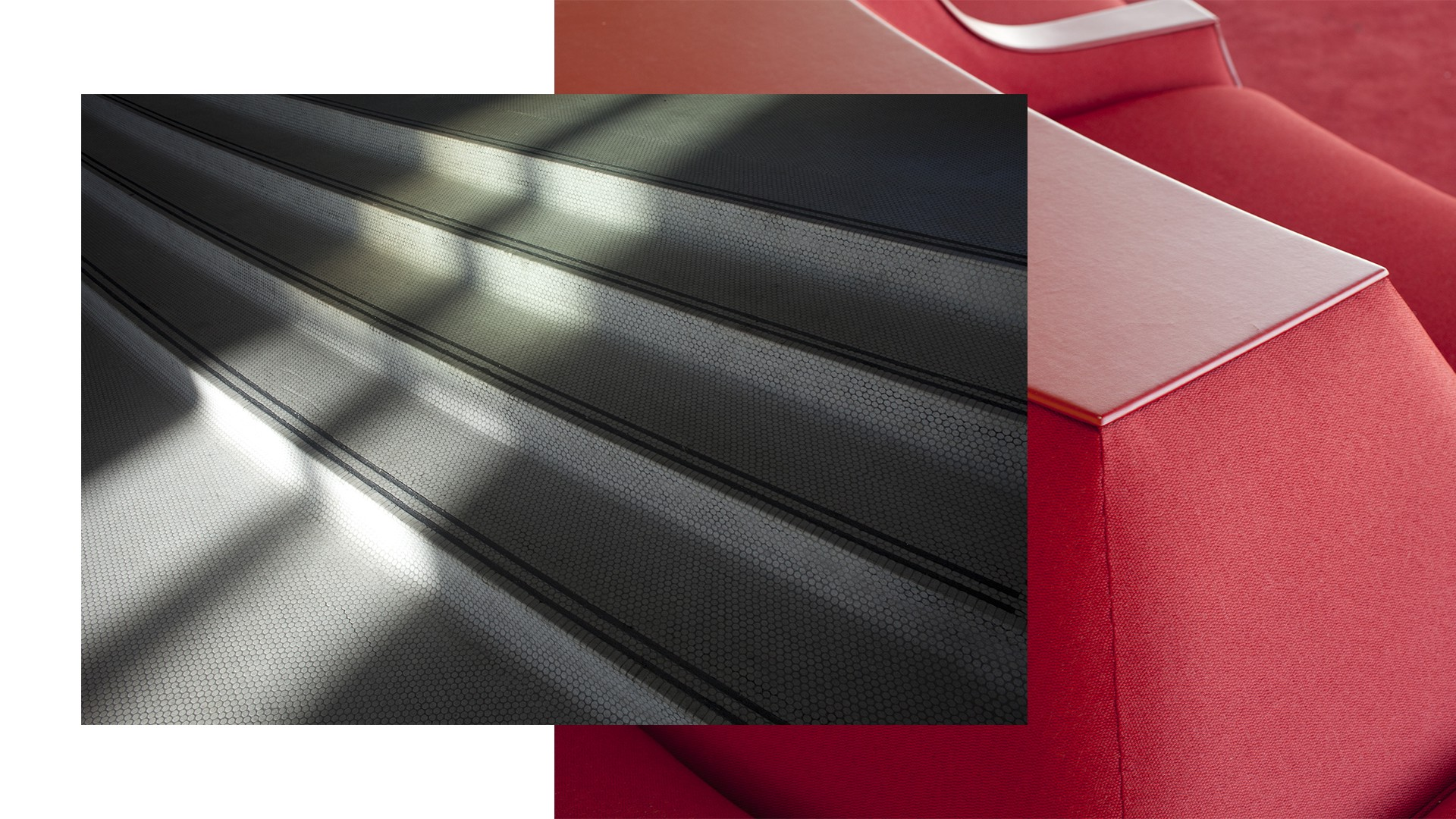 A photo collage of tiled stairs illuminated with light on top of a red bench inside the TWA Airport terminal.