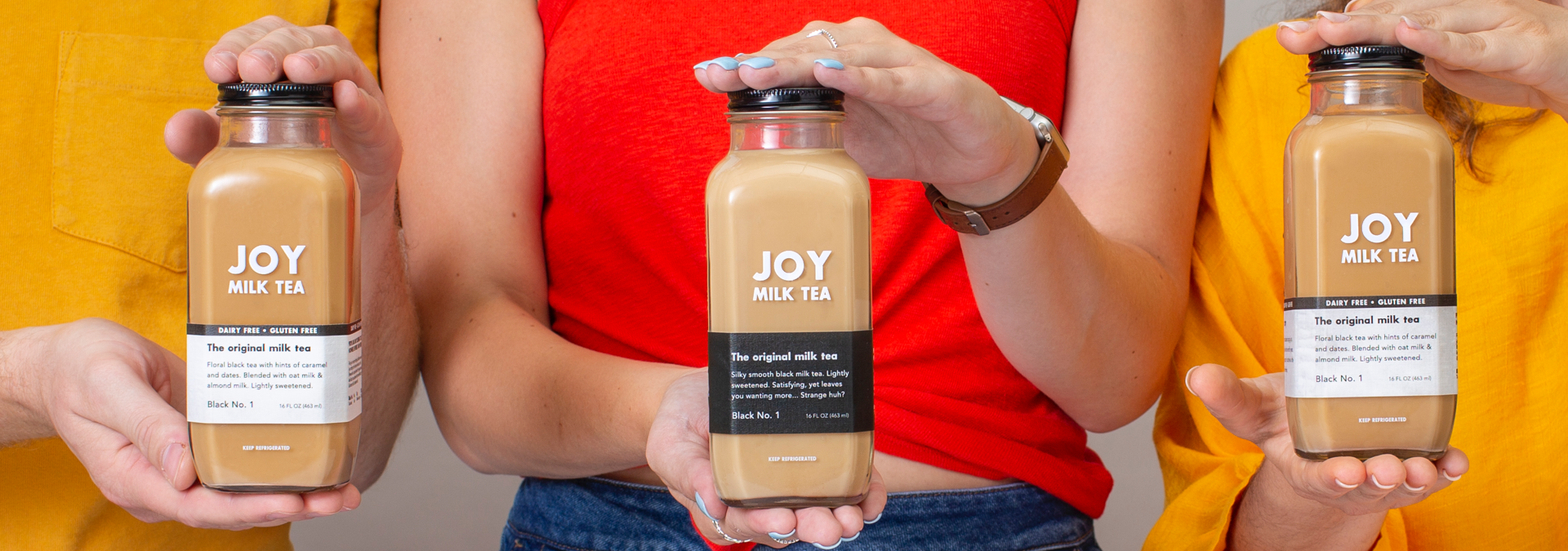 Joy milk tea makes dairy (black label) and dairy free (white label) milk teas that taste as great as they function.