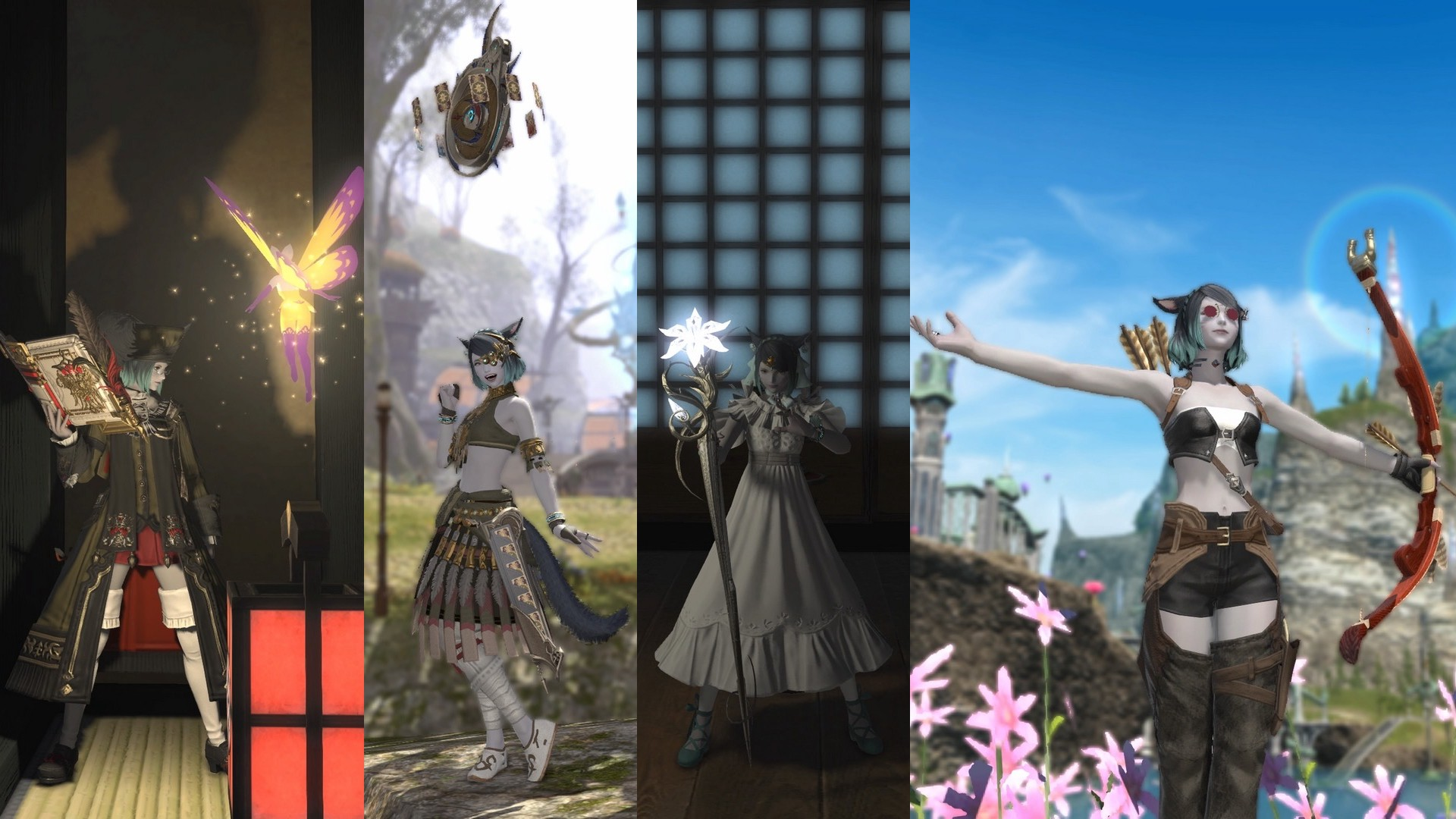 My main character in the MMORPGH Final Fantasy XIV, Catherine Soft, as four different classes