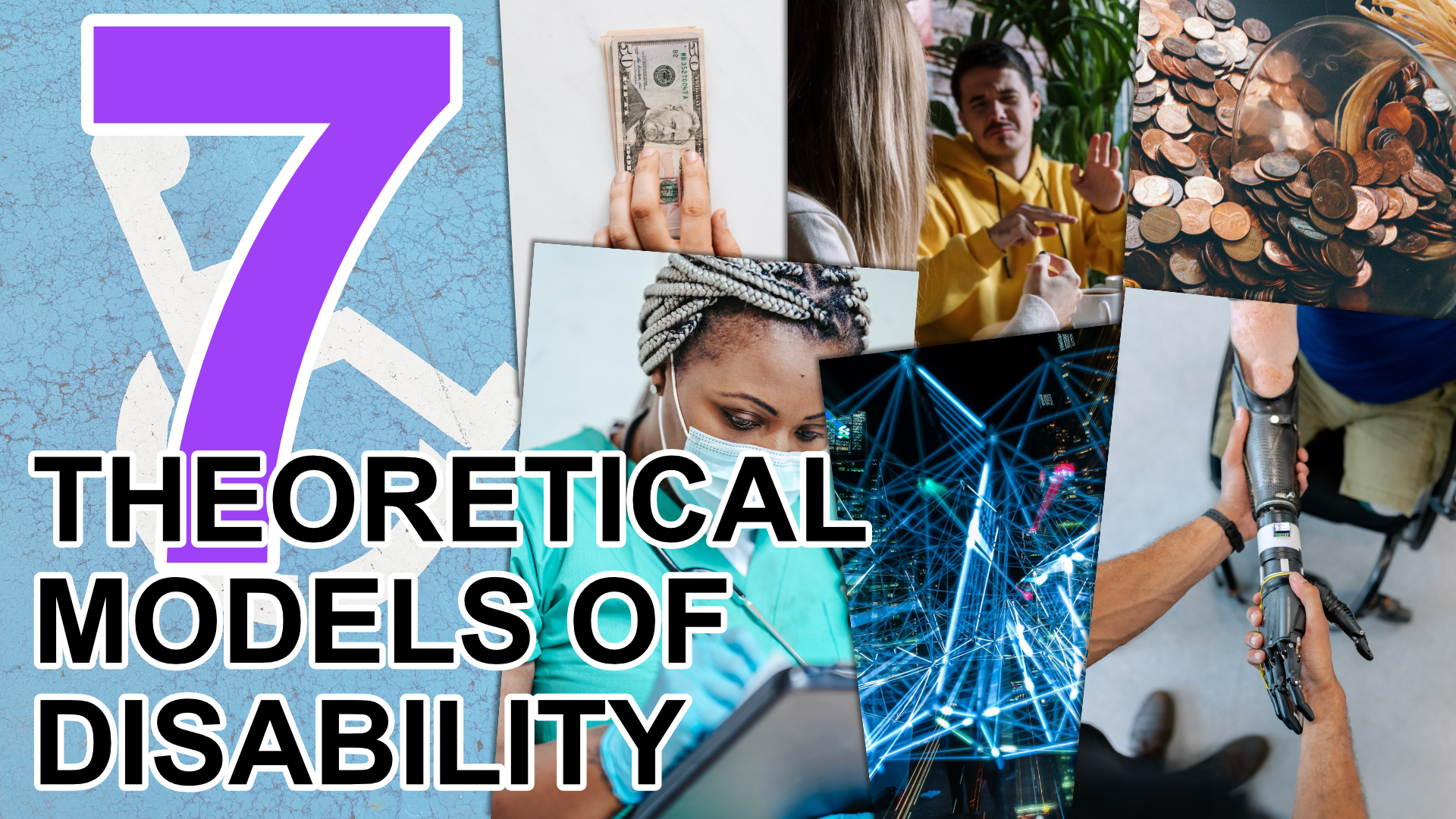 A collage of images illustrating the seven theoretical models of disability.