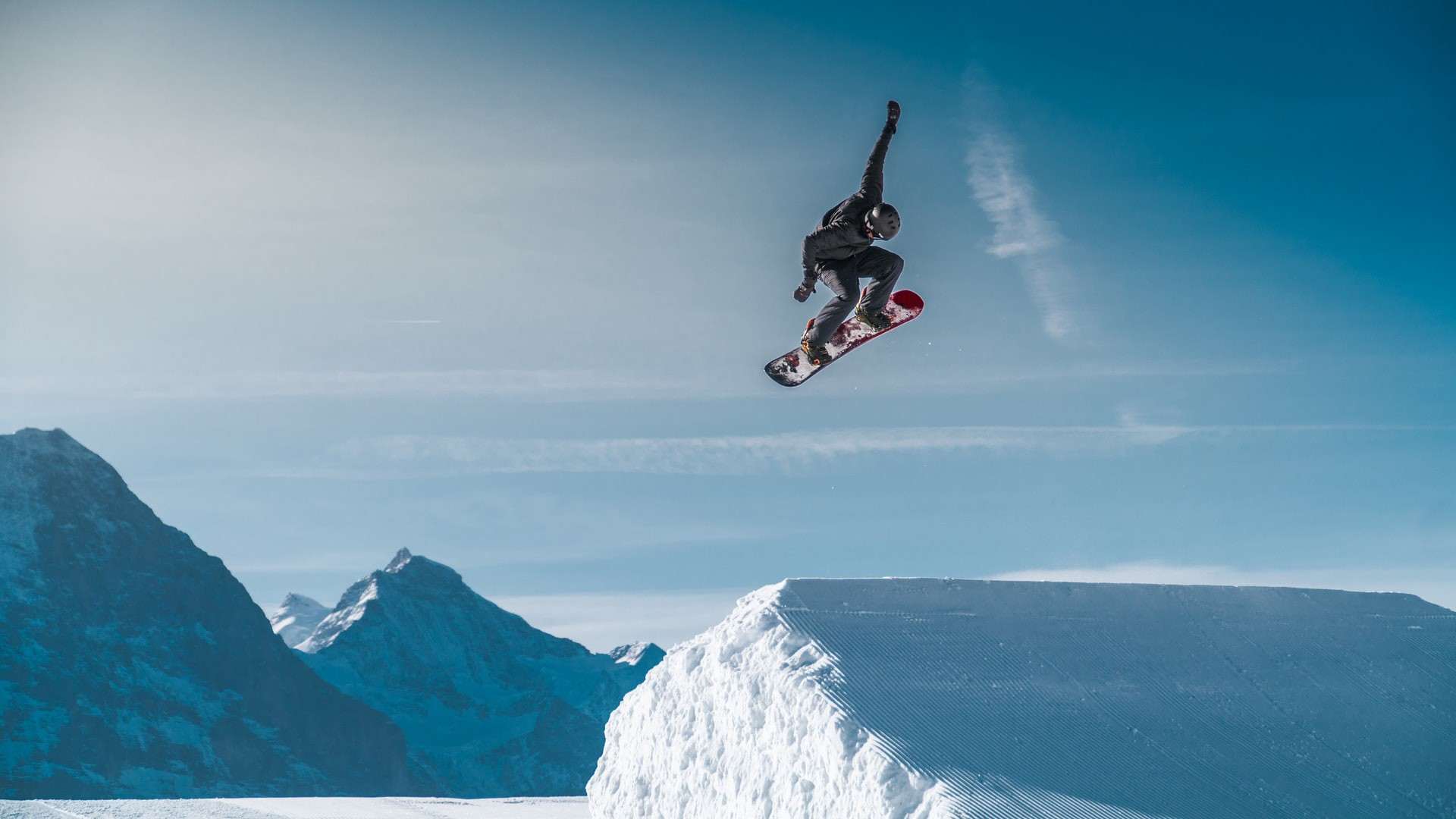 snowboarder taking flight