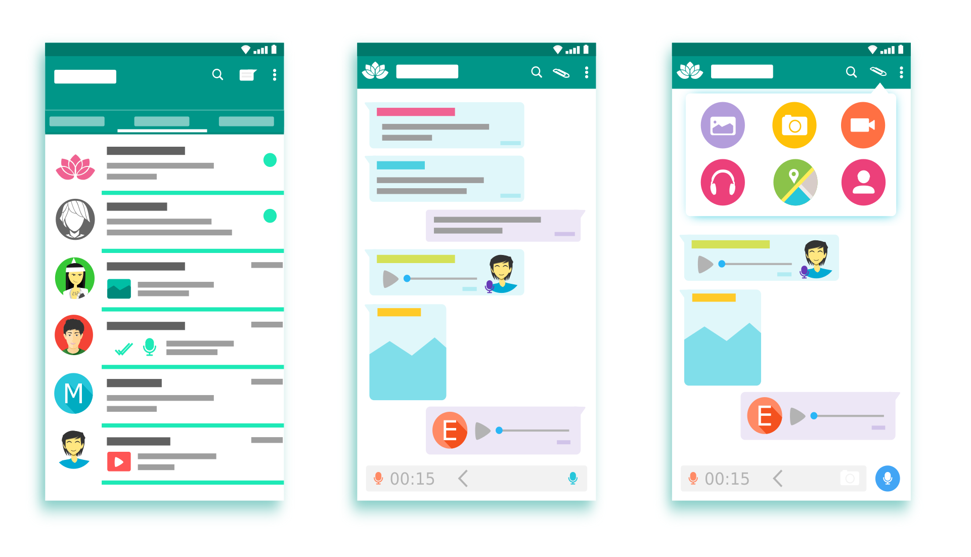 three phone screens showing design of whatsapp