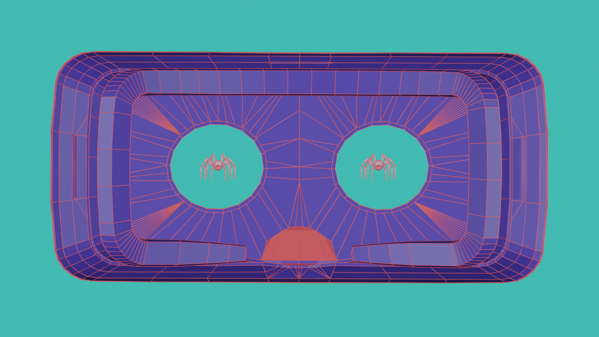 Two digital spiders viewed through the lenses of a VR headset. The headset appears like a cartoon face of fear.