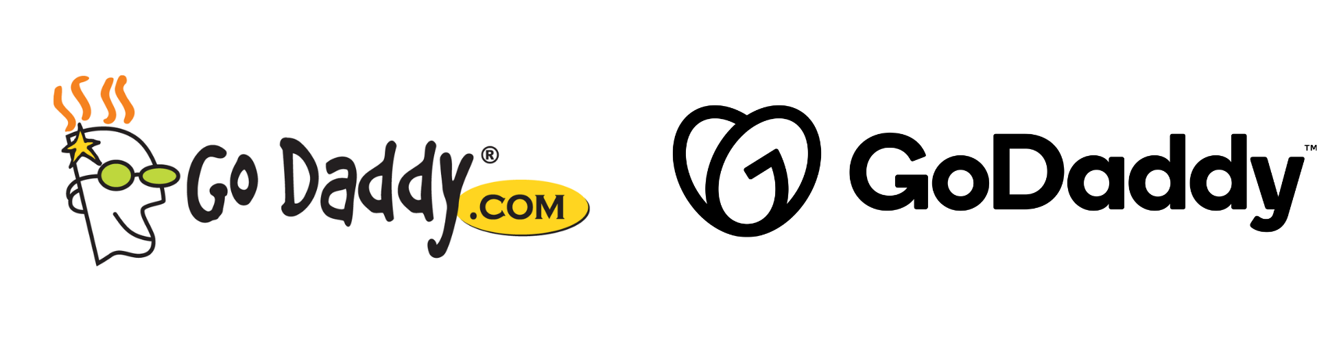 Old GoDaddy logo with cartoon man's face on the left and new graphic logo on the right.