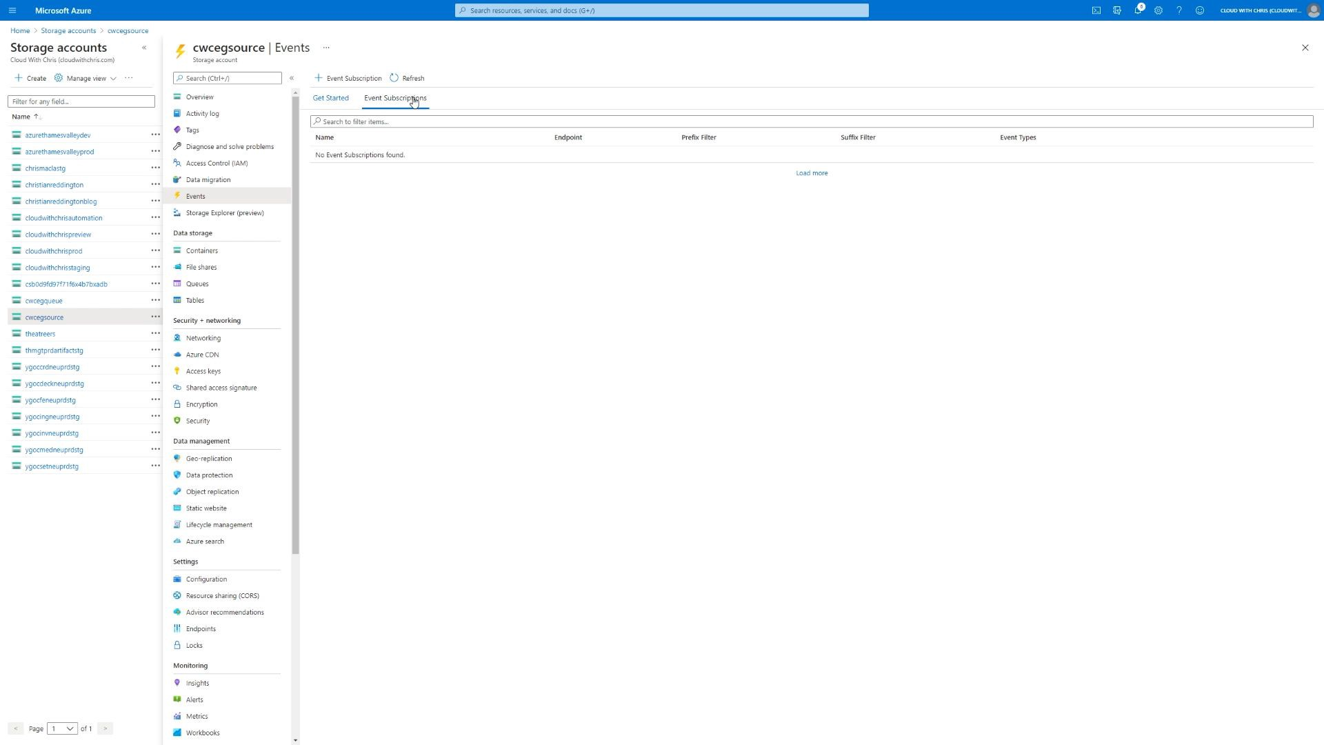 Screenshot showing the events section of the source storage account