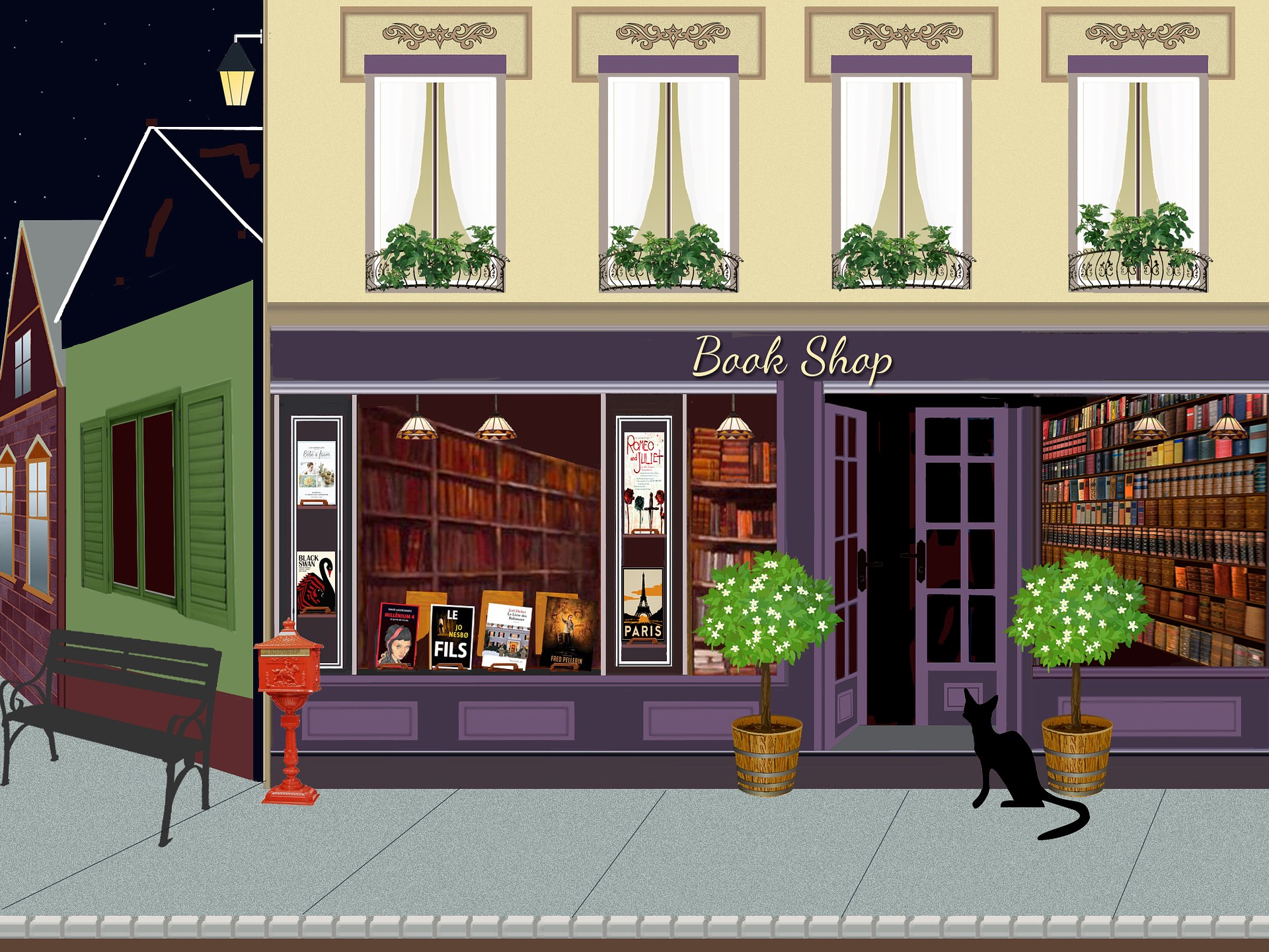 Artist's color drawing of a book shop storefront in France.