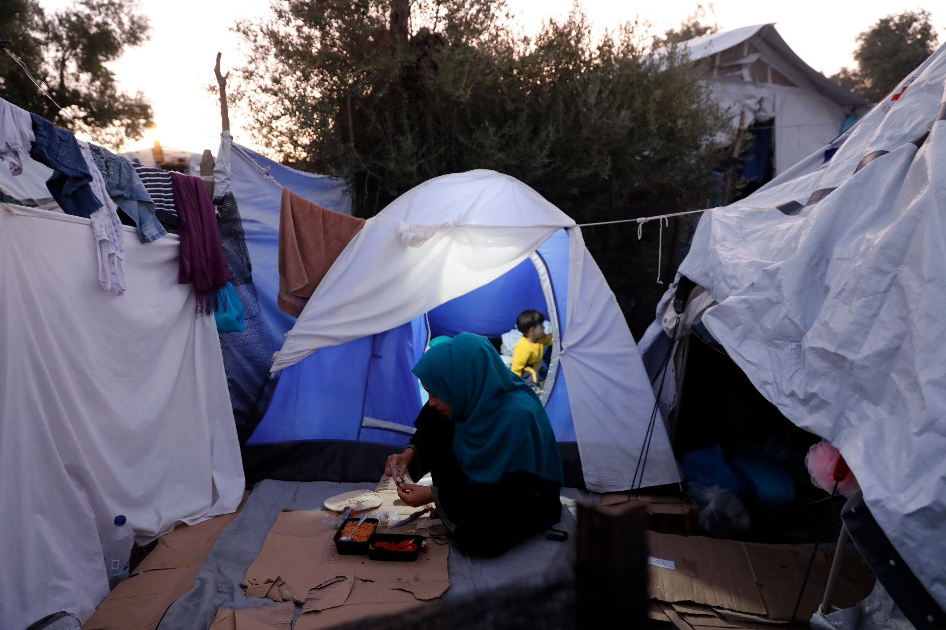 This picture shows the Olive Grove camp, which belongs to the EU refugees of Moria in Lesvos, Greece.