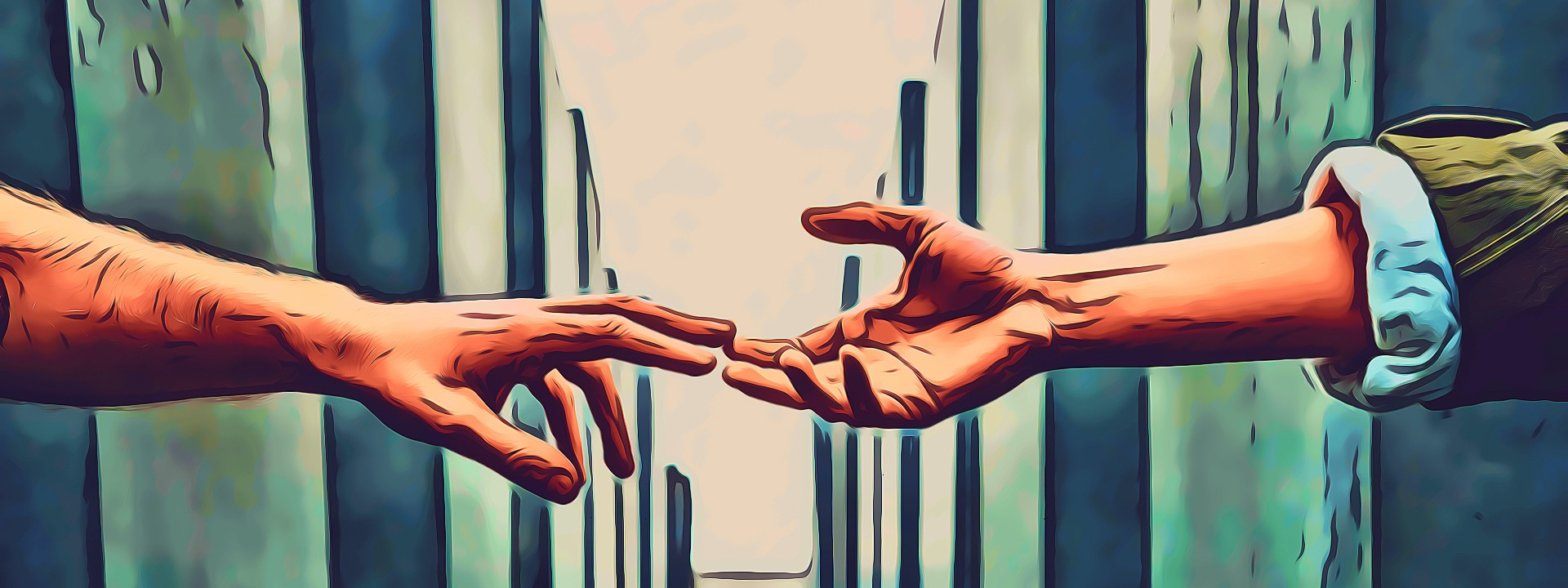 Two hands stretching toward each other, but not touching
