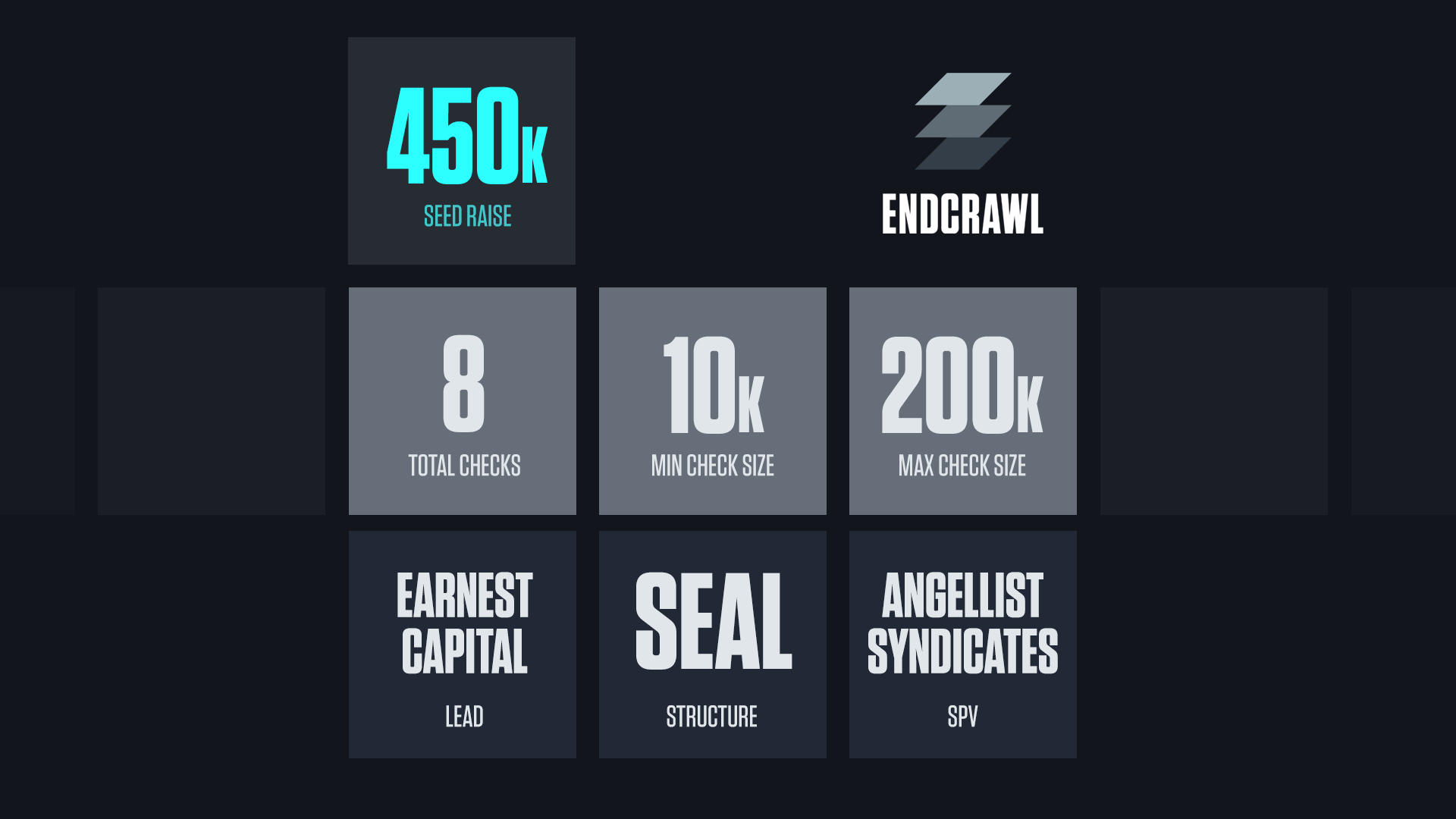 Endcrawl Seed Round top-line stats