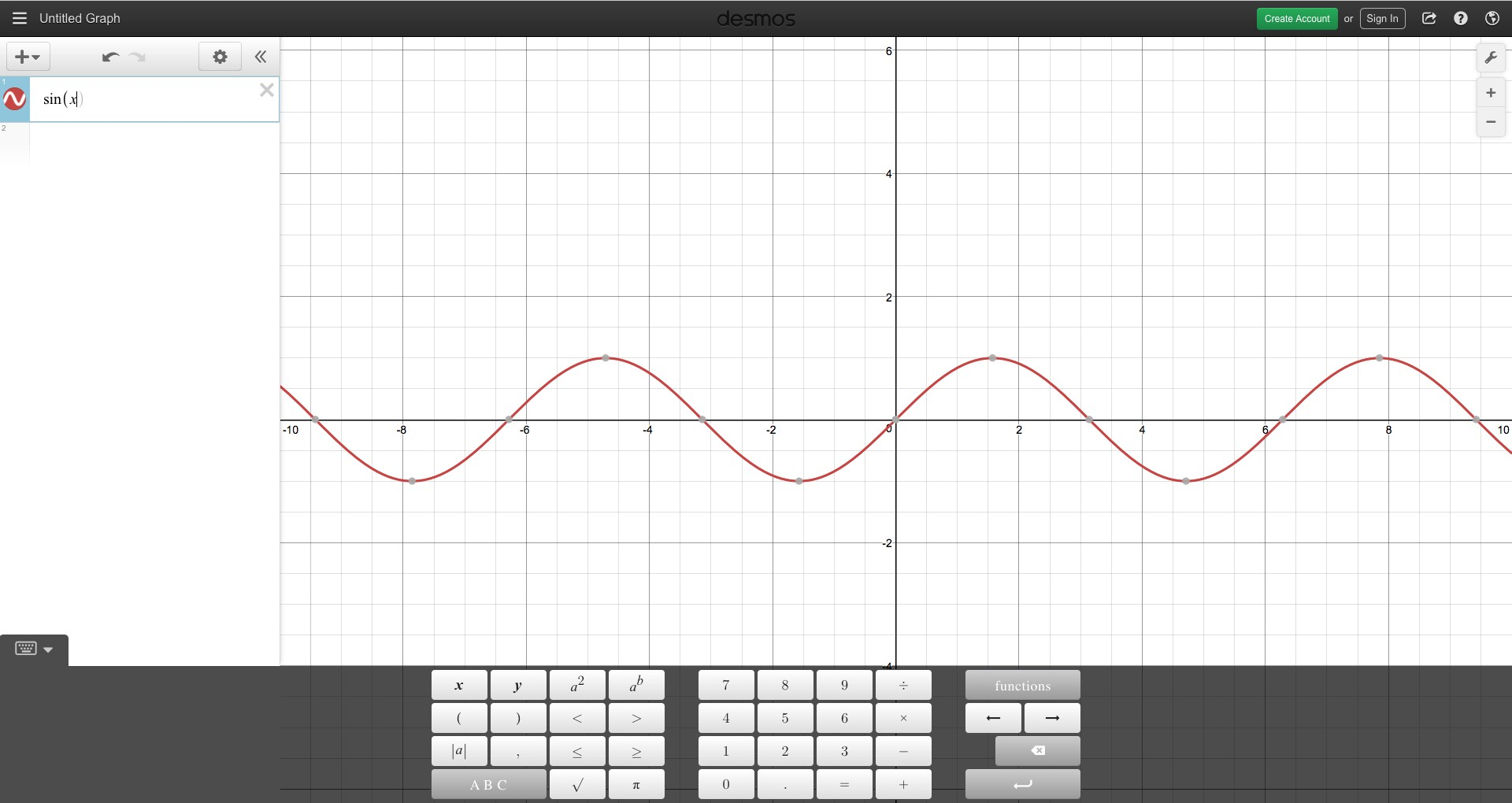 Plotting a sine curve on https://www.desmos.com