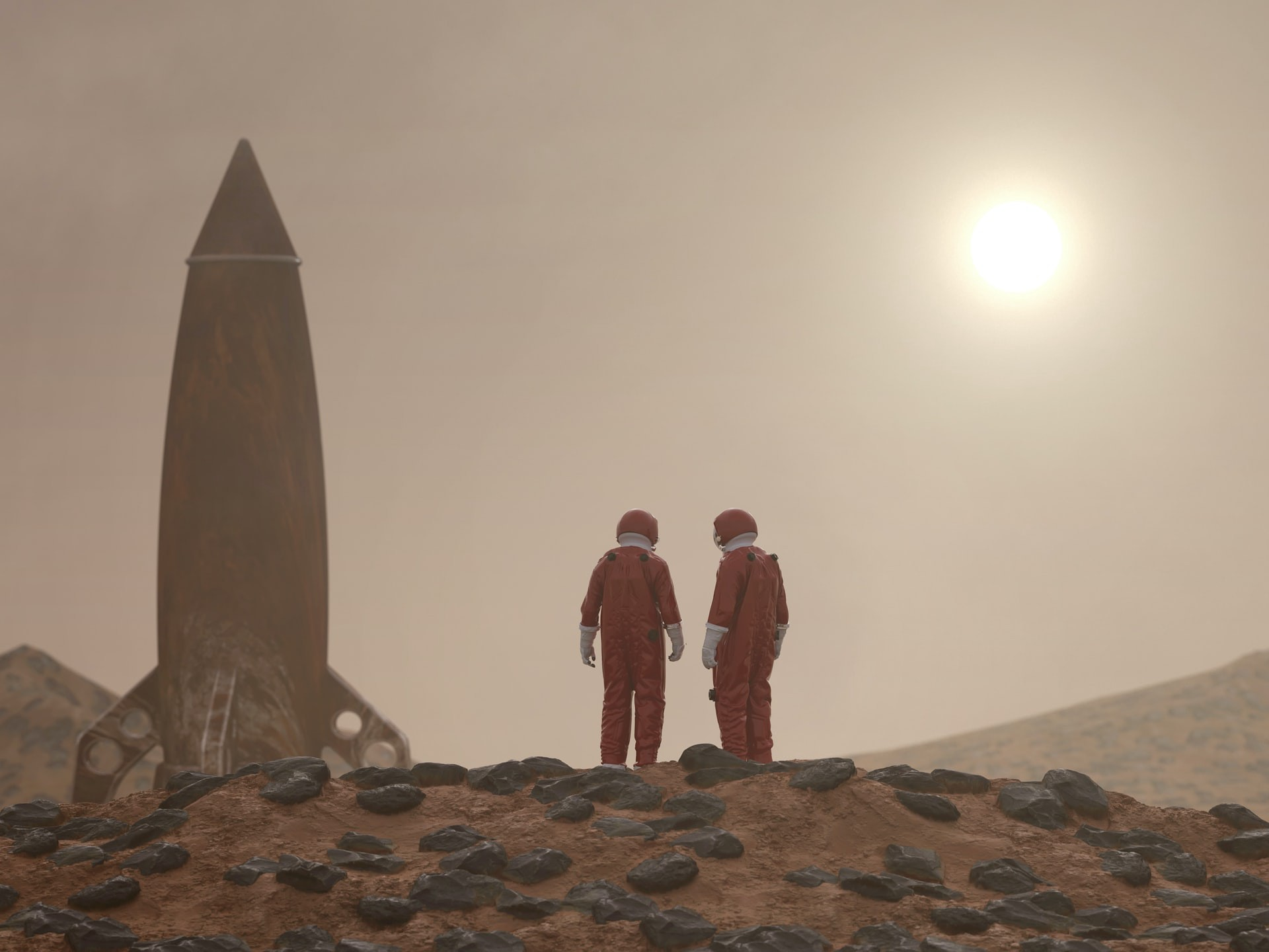 two astronauts and a rocket on mars
