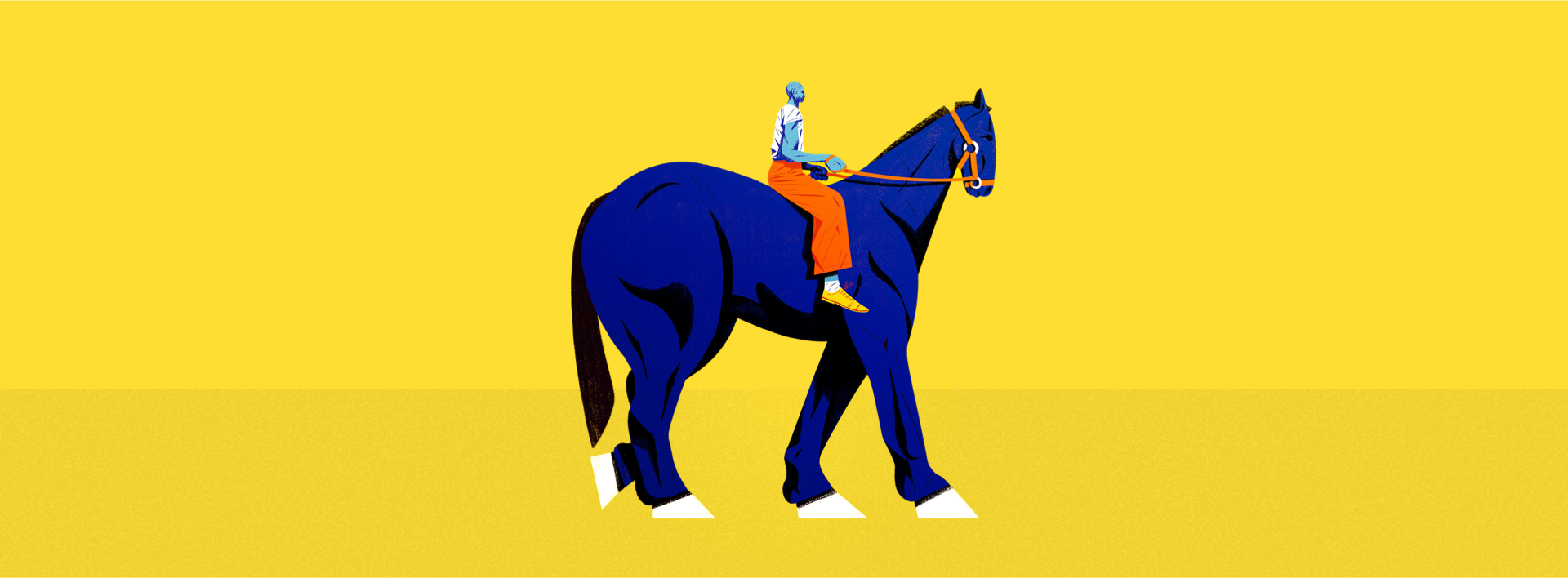 Banner image—illustration of light blue person with orange trousers, sitting over a blue horse and plane yellow background