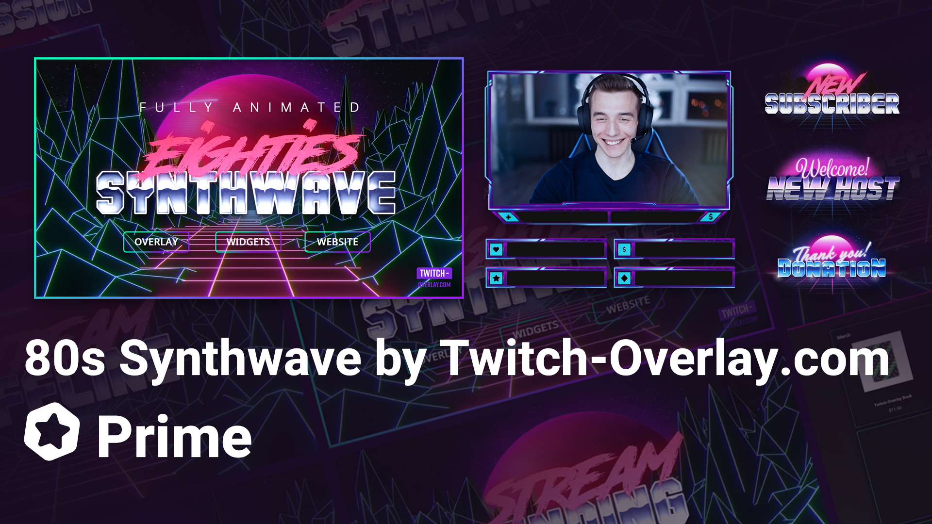 80s Synthwave Stream Overlay Package By Ethan May Streamlabs Blog