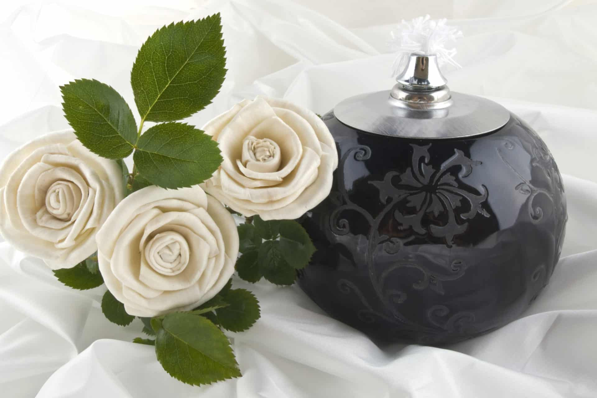 Cremation Urn and Flowers