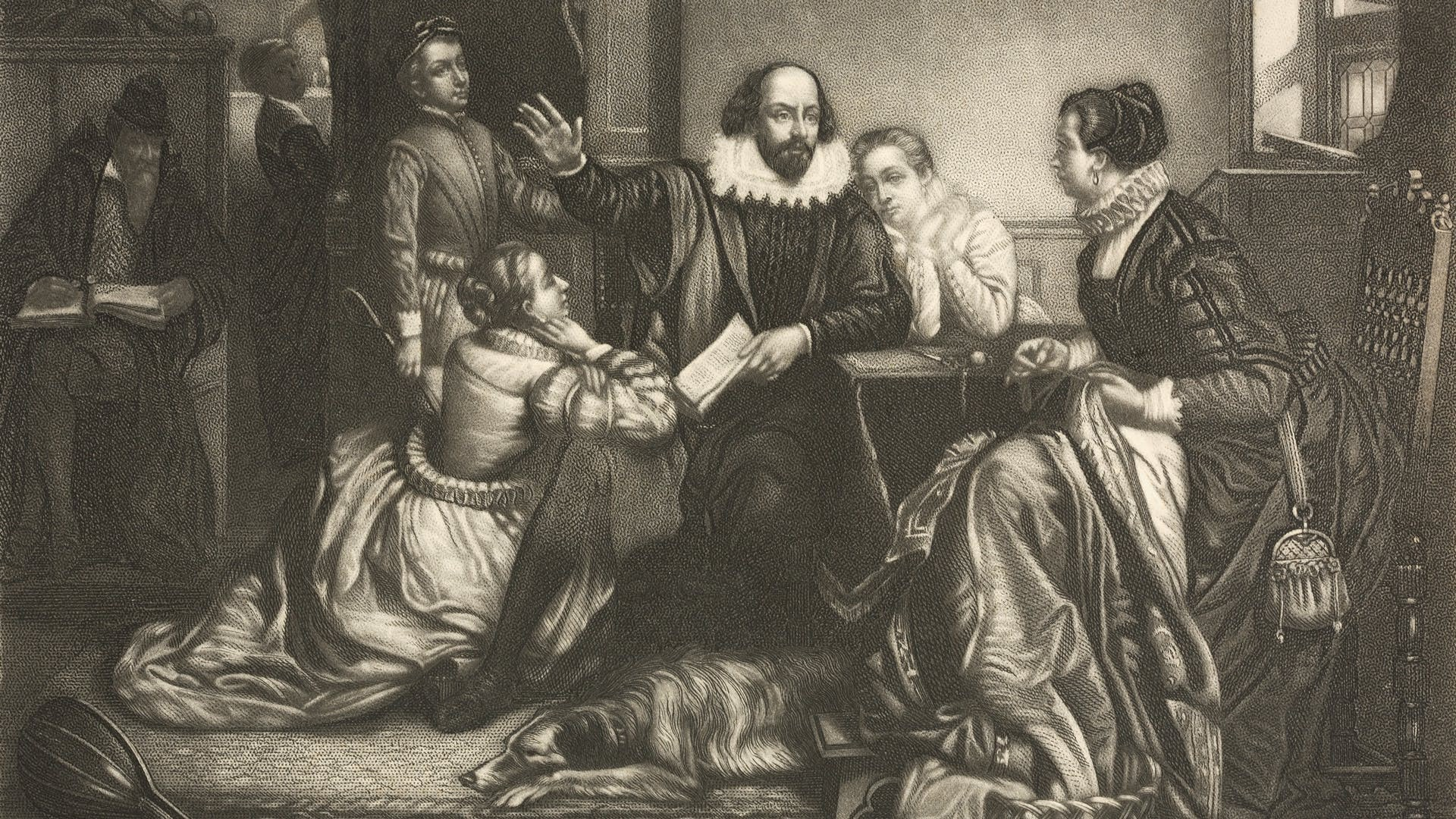 William Shakespeare reciting a play for a group of women.