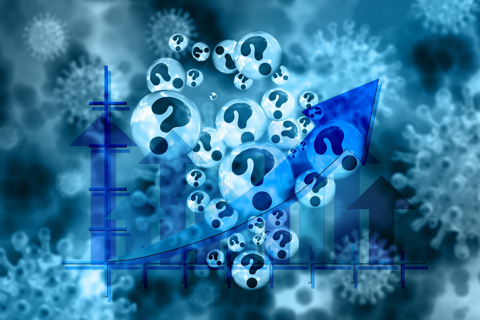 Blue graphic featuring overlapping images of a graph with arrows, spiky virus particles and floating question marks