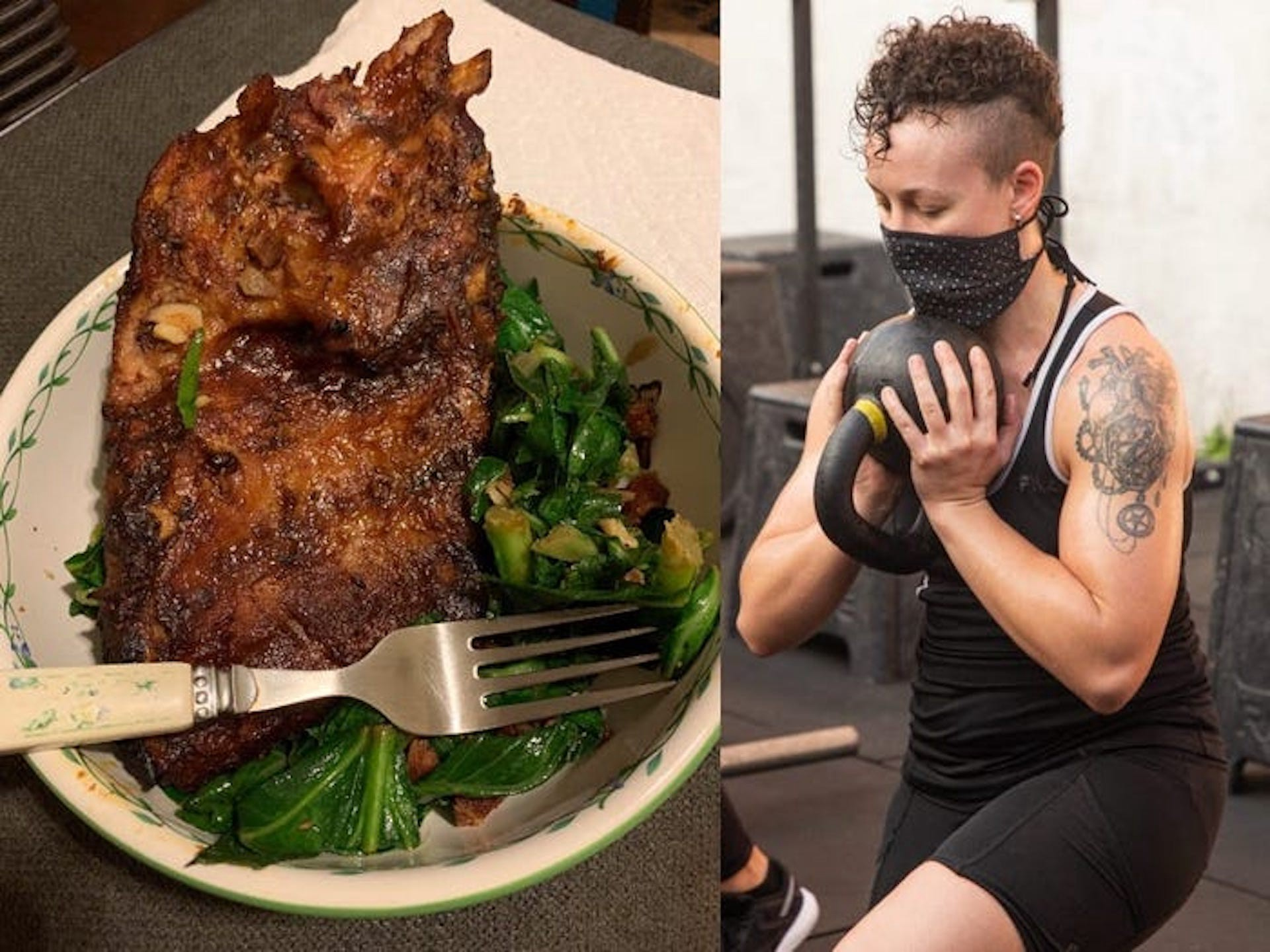 Ribs and collard greens as a low-carb dinner (left), and the author working out (right).