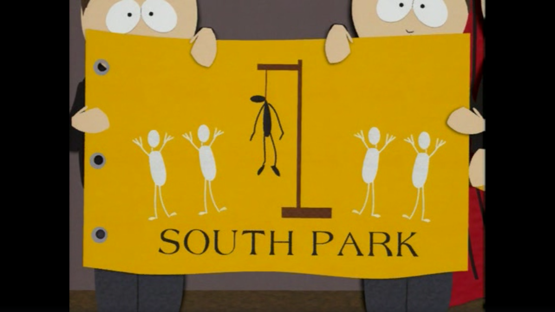 A still image of the former flag of South Park, it depicts four white stickman hanging one black stickman.