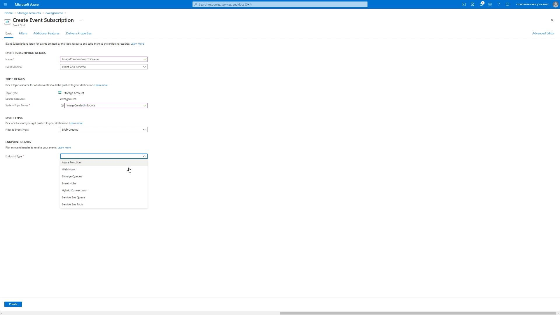 Screenshot showing the creation experience for the event subscription and System Topic