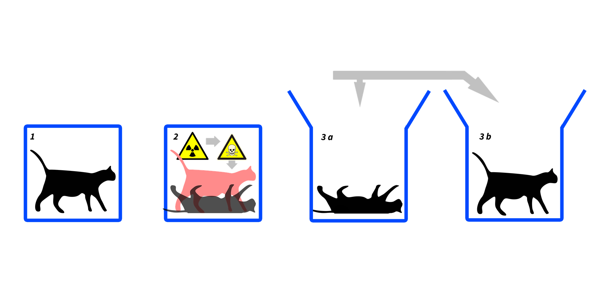 A simple diagram of the Schrödingers Cat experiment. There are four blue boxes, with either living or dead cats inside.