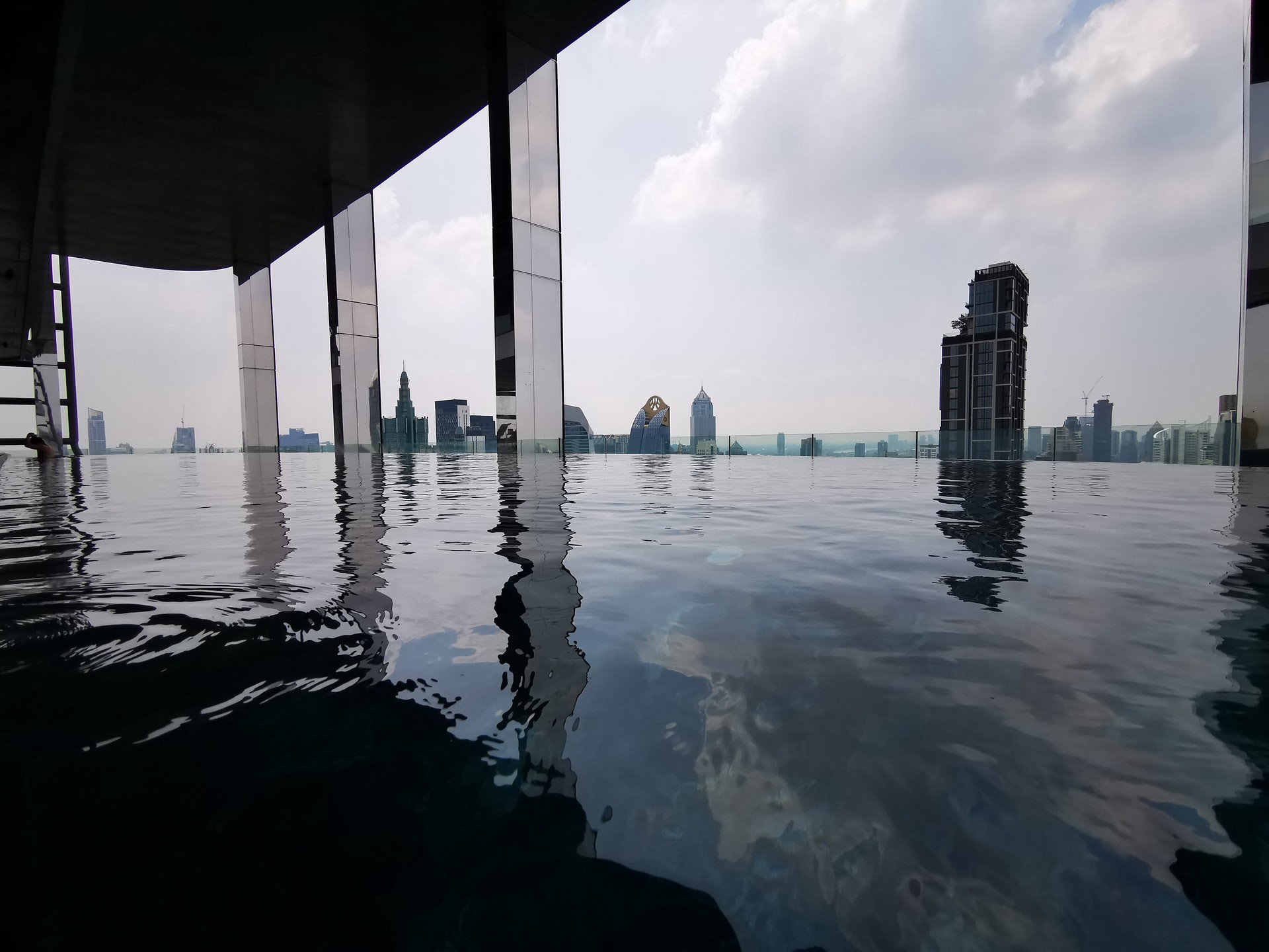 Skyline view from rooftop infinity pool.