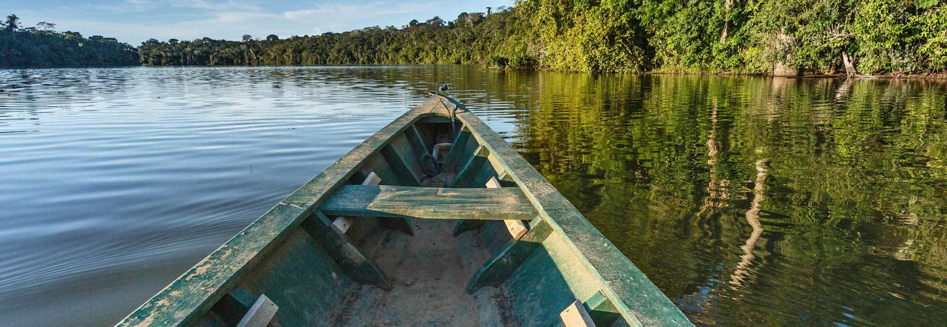 "Image of wooden canoe on Amazon River with caption reading ""Amazon Ventures Further Into Consumer Healthcare"""