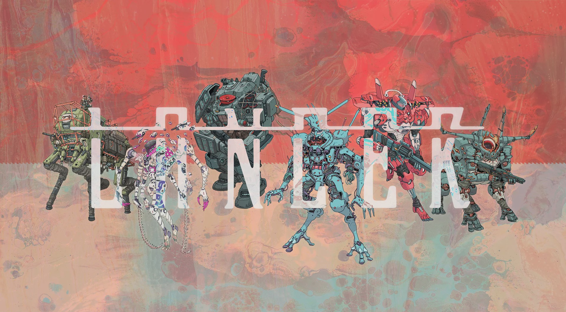 A promotional poster for Lancer. The Lancer logo is semi-transparent. Six mechs stands behind the logo.