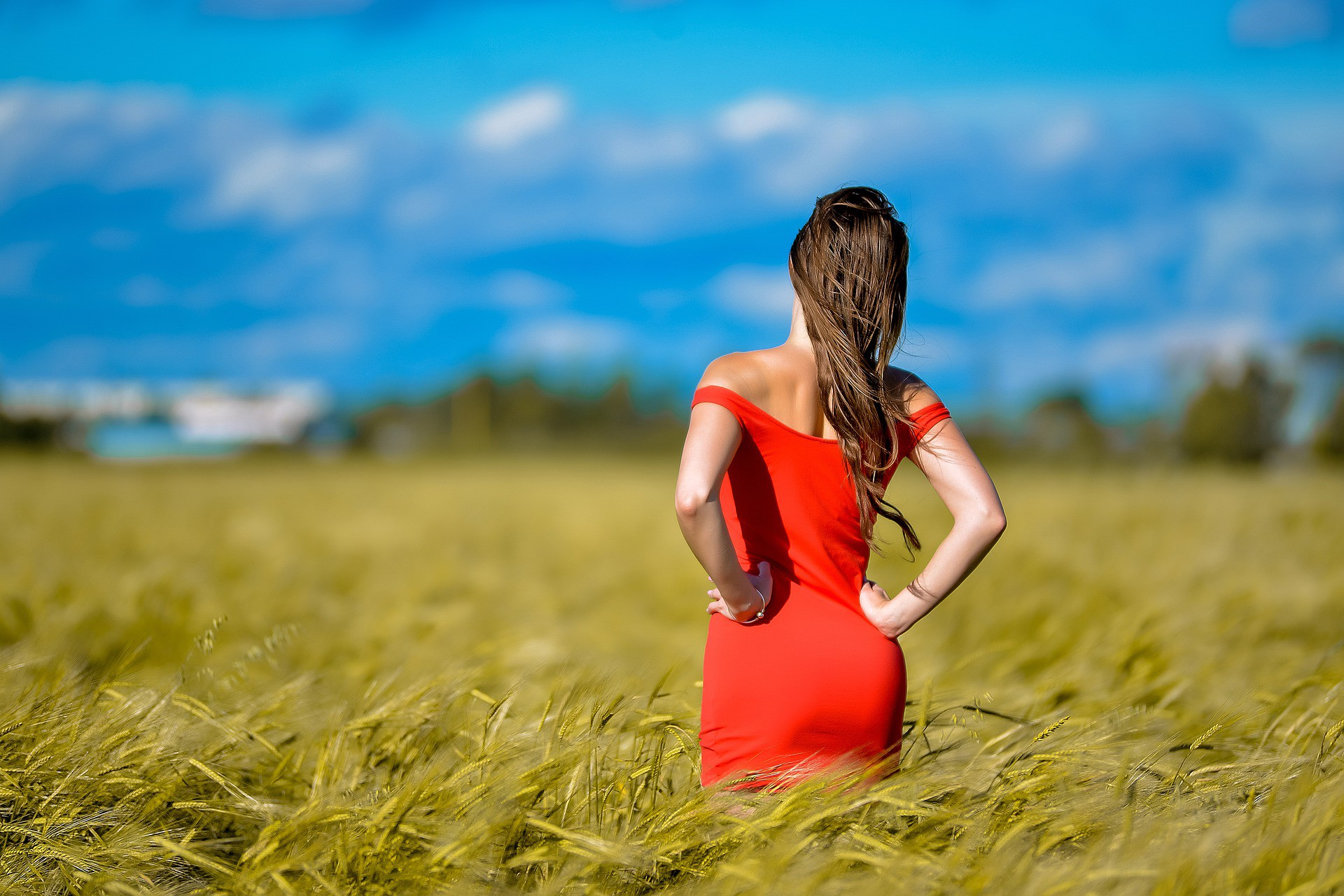 Woman in a red dress standing in a field