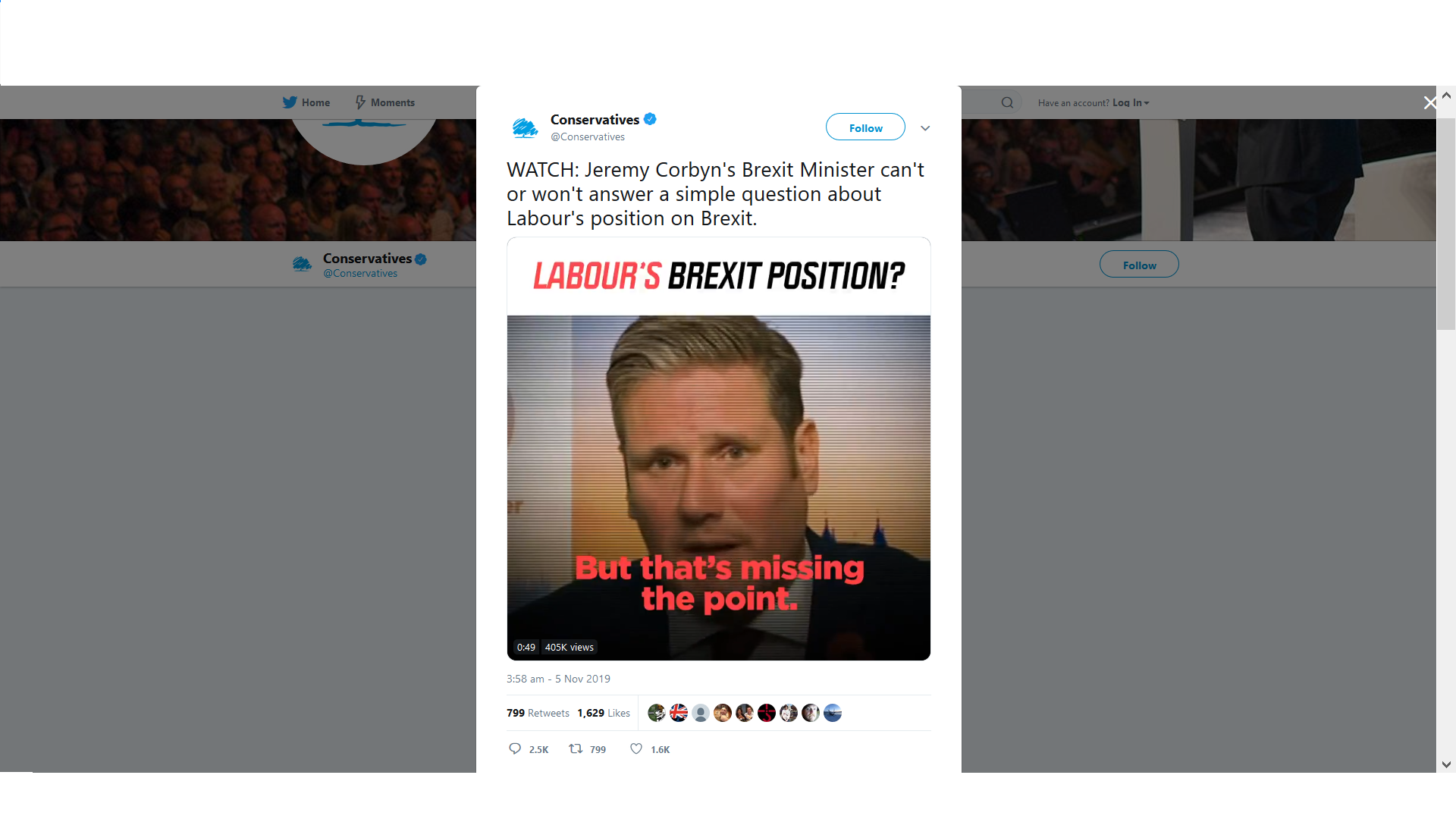 A tweet from the Conservative party questioning the Labour parties brexit policy captioned 'LABOUR'S BREXIT POSITION?'