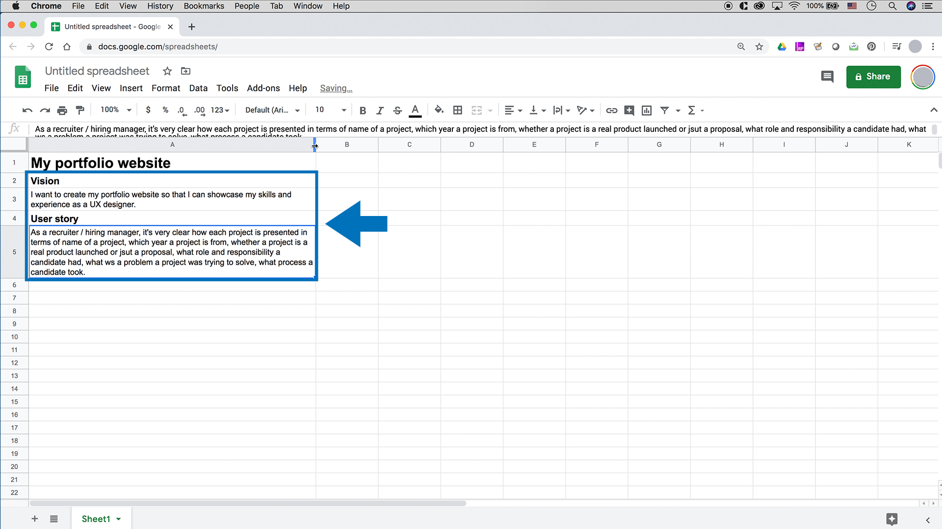 A screenshot of Google Sheets with a vision and a user story typed in.