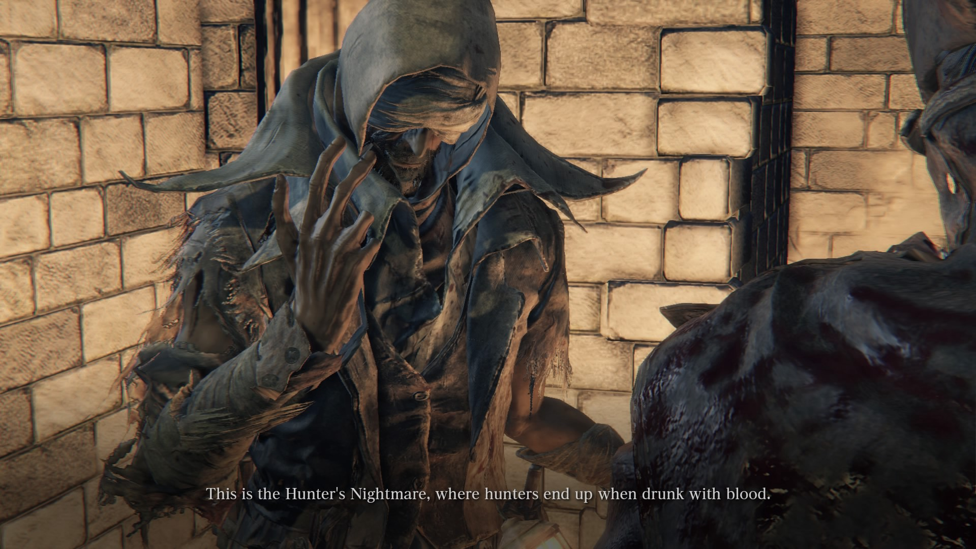 """Caption reads """"This is the Hunter's Nightmare, where Hunters end up drunk with blood."""""""