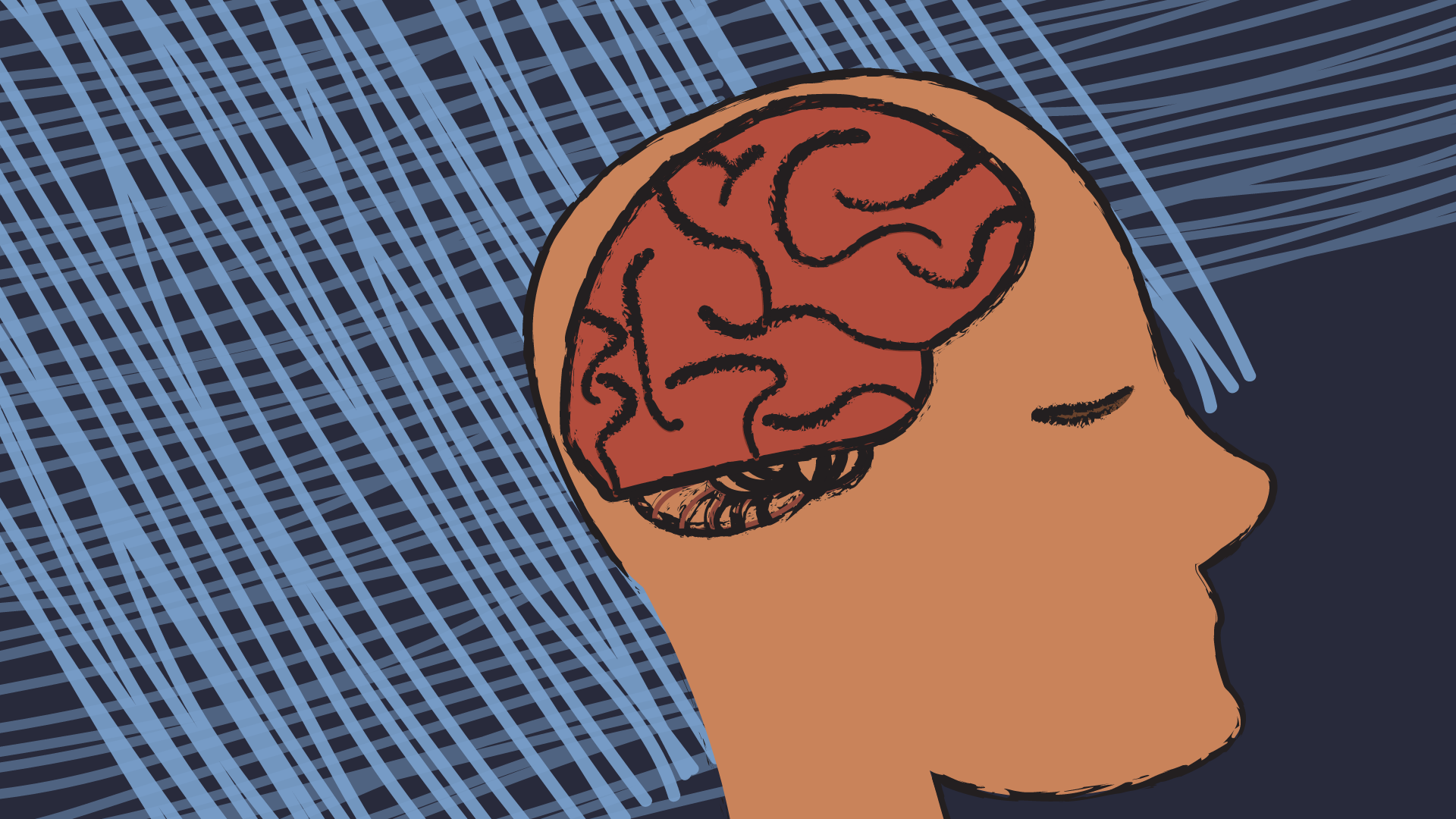 Simple line drawing of a brain inside of a head. Background is blue with light blue lines.