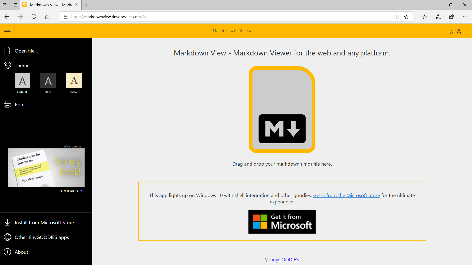 Markdown View — Markdown Viewer for the Web, Windows 10