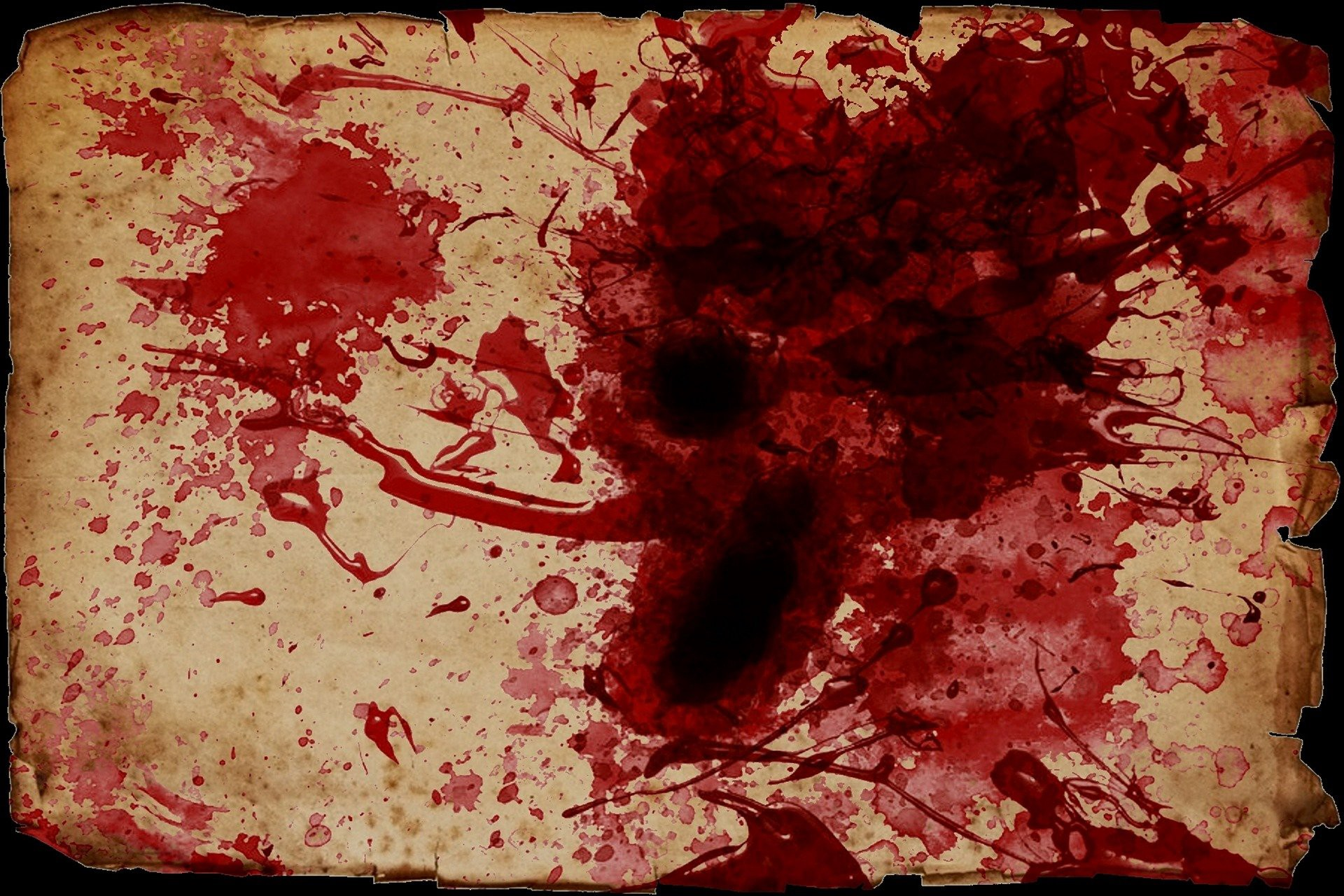 A bunch of blood splatter on a parchment.