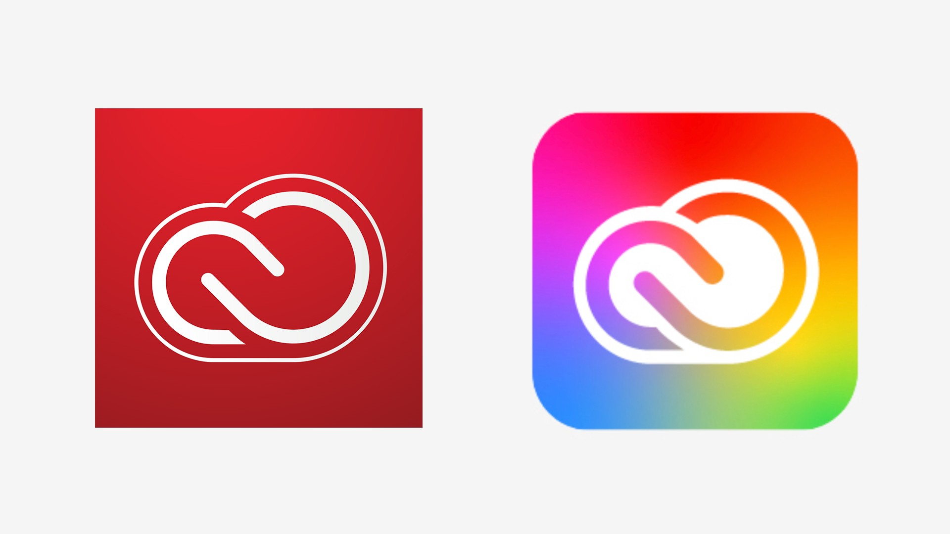 Old two-toned Adobe Creative Cloud logo on the left, with colorful updated version on the right.
