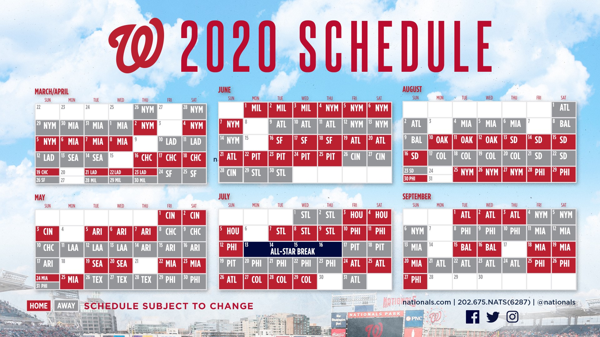 Sf Giants Schedule 2020 Printable.Nationals Announce 2020 Schedule Curly W Live
