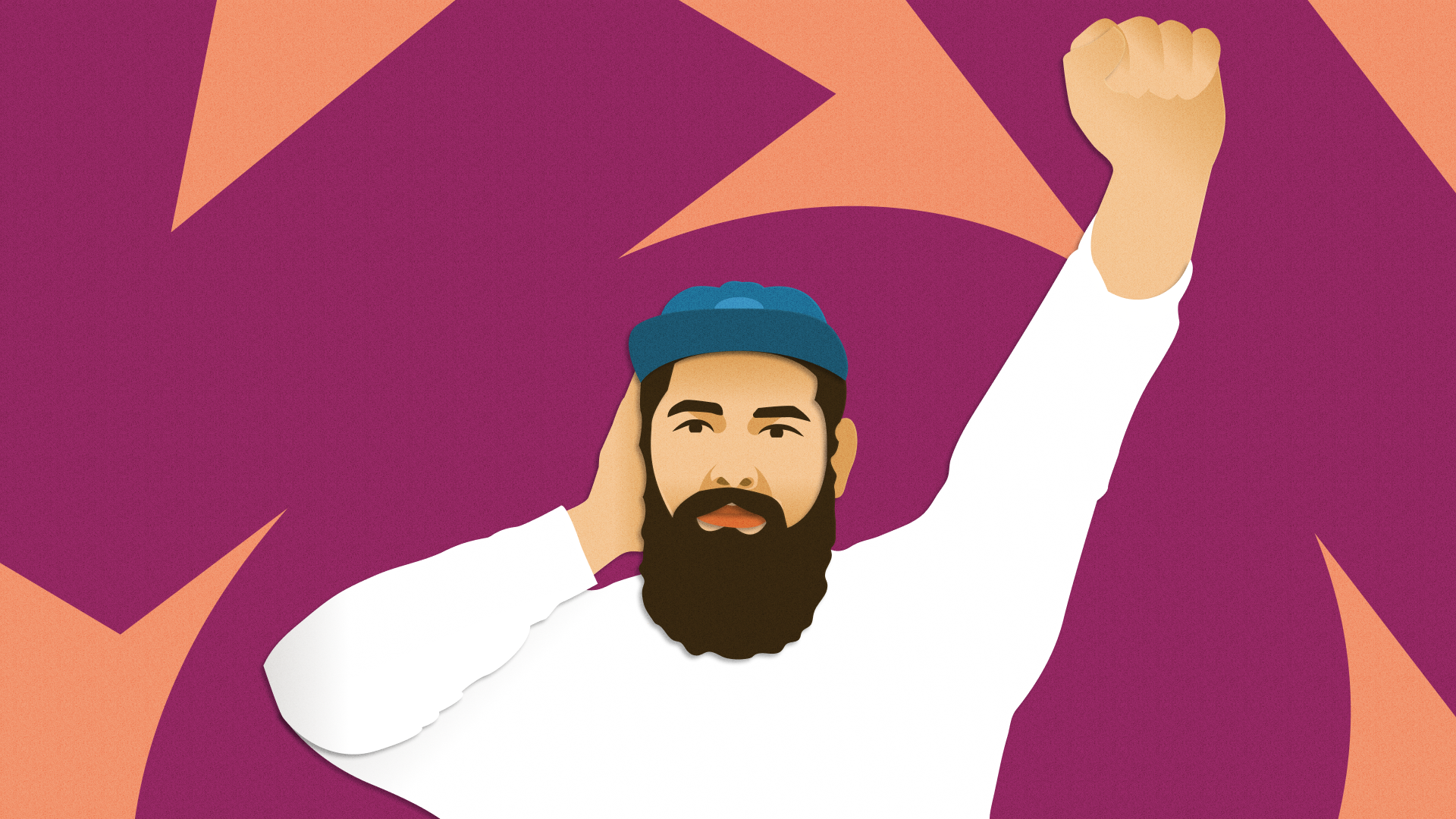 Illustration of Ravi Vasavan with one hand on his ear and his other hand raised in a fist.