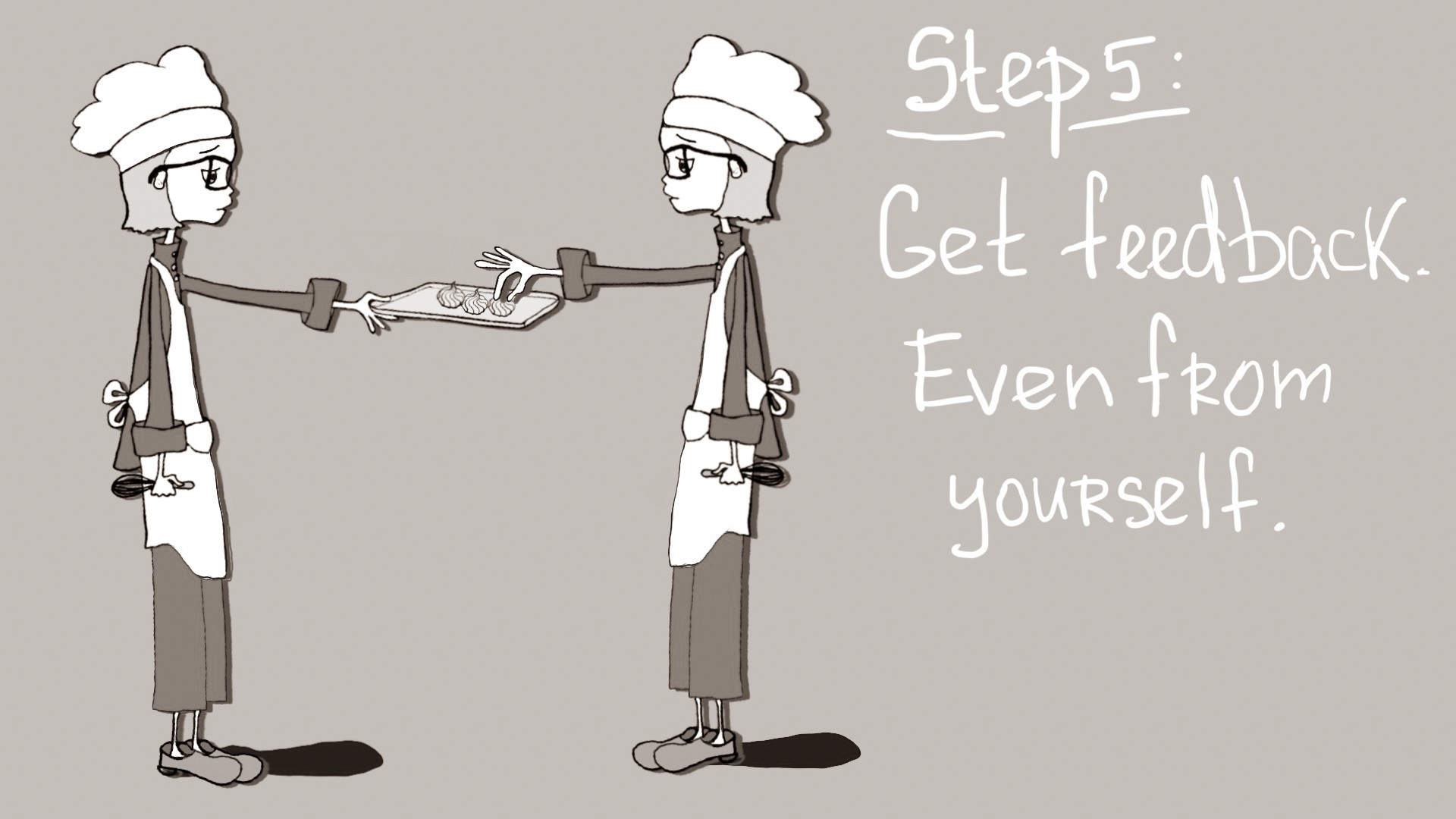 Cartoon depiction of the author as a pastry chef offering pastries to a twin version of herself.