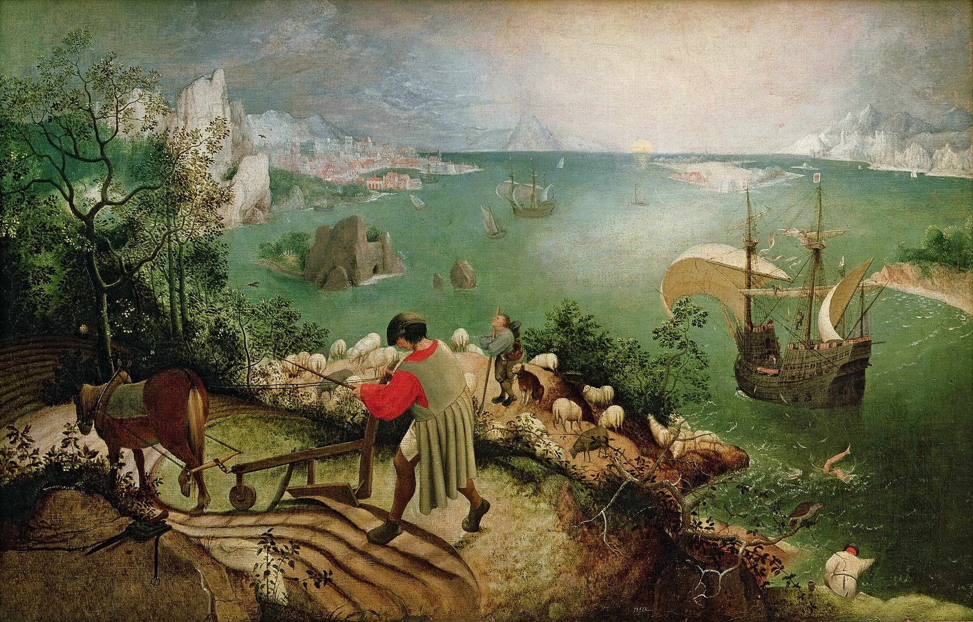 Painting on canvas by Bruegel the Elder. Icarus, drowning. The ploughman, shepherd and angler are indifferent to this scene.