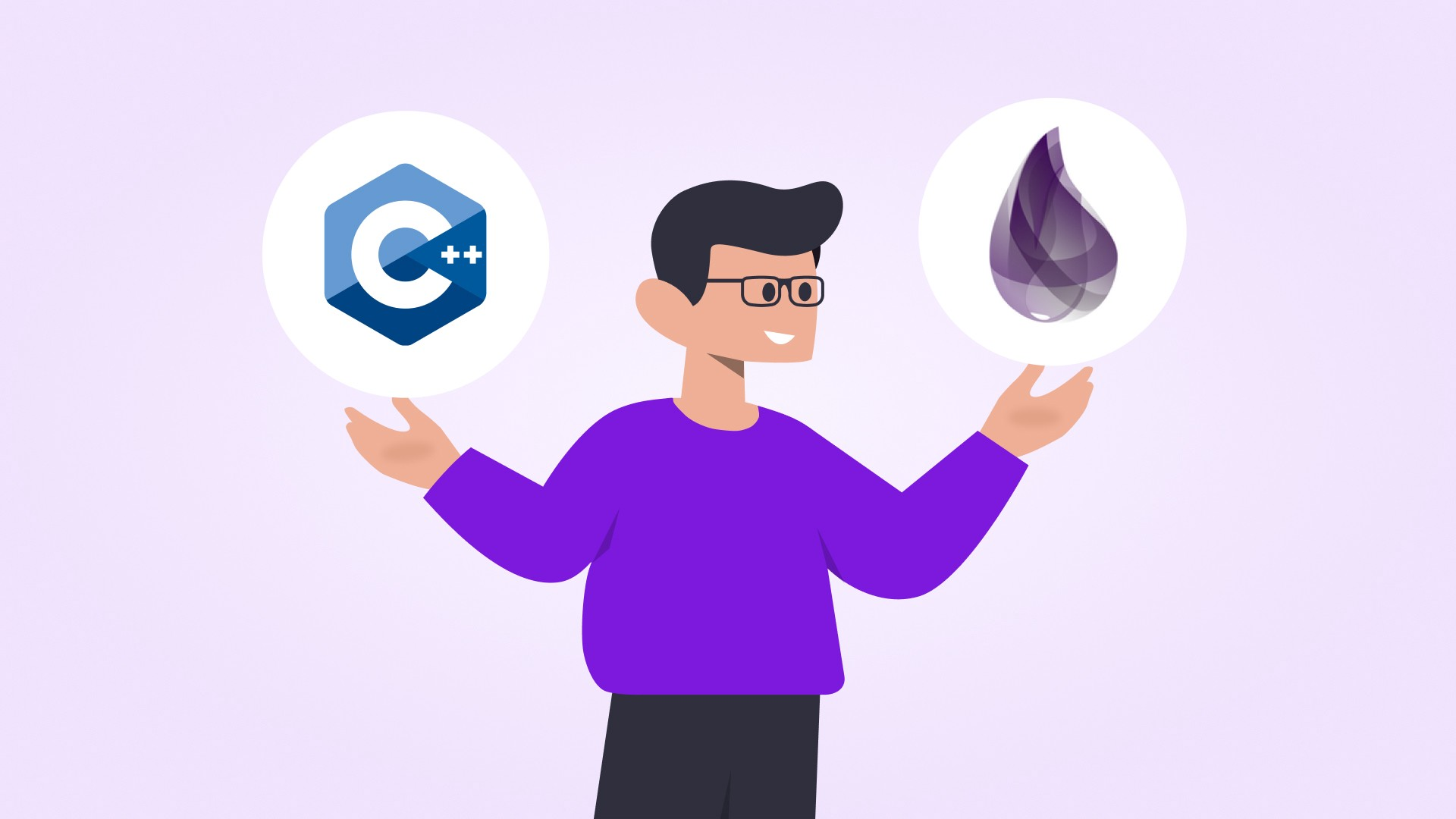 Person holding logos of C++ and Elixir