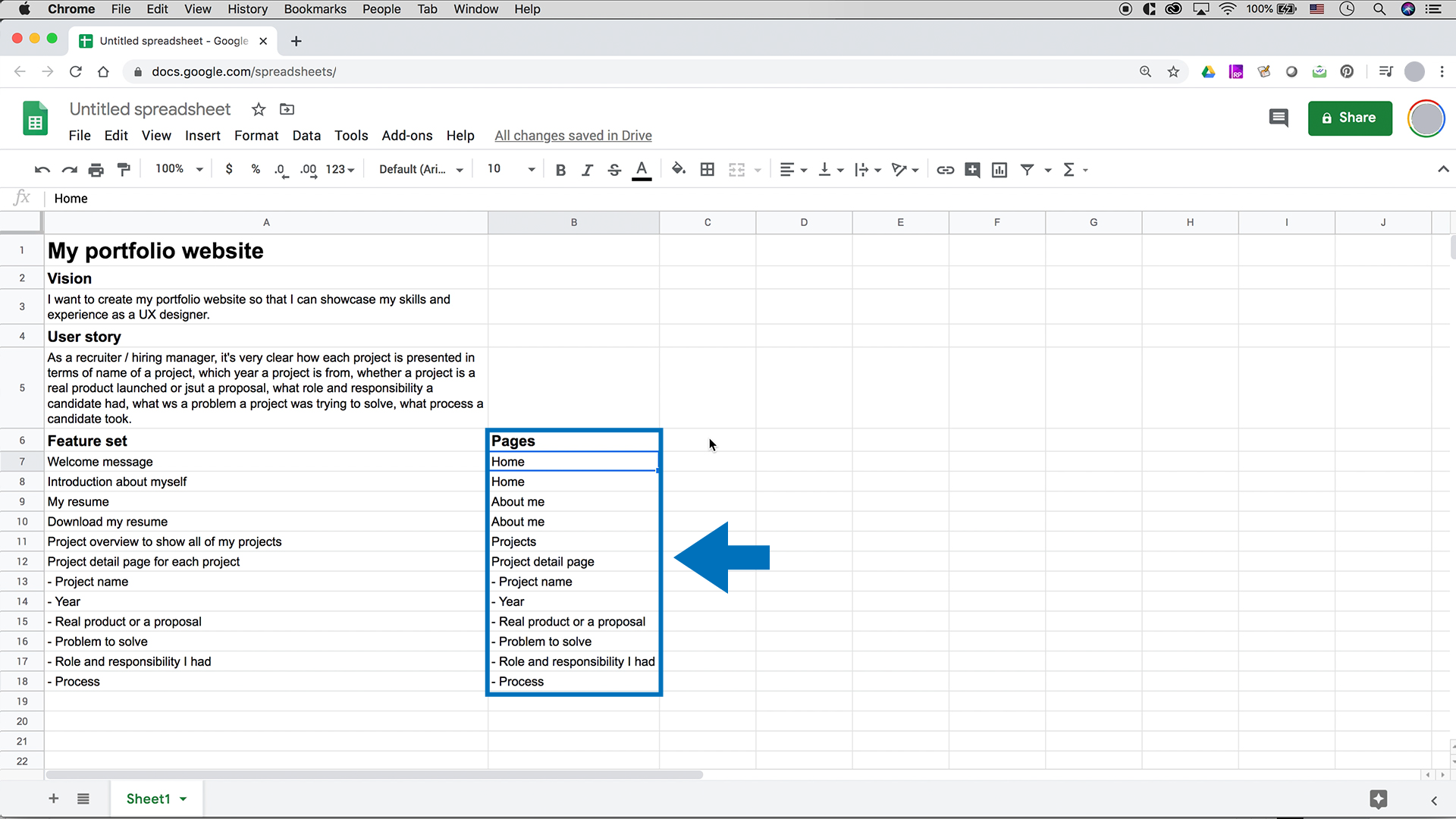 A screenshot of Google Sheets showing pages column is added which shows corresponding page for each feature set item.