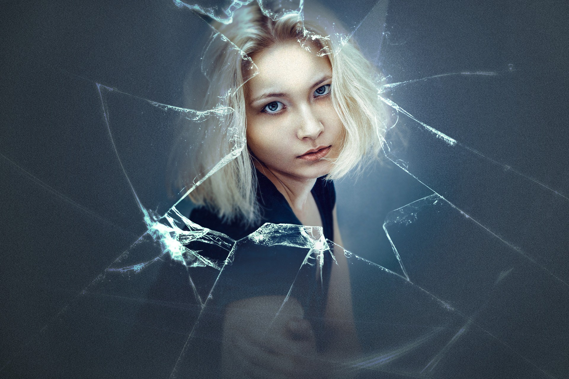 Image of blond girl and broken glass