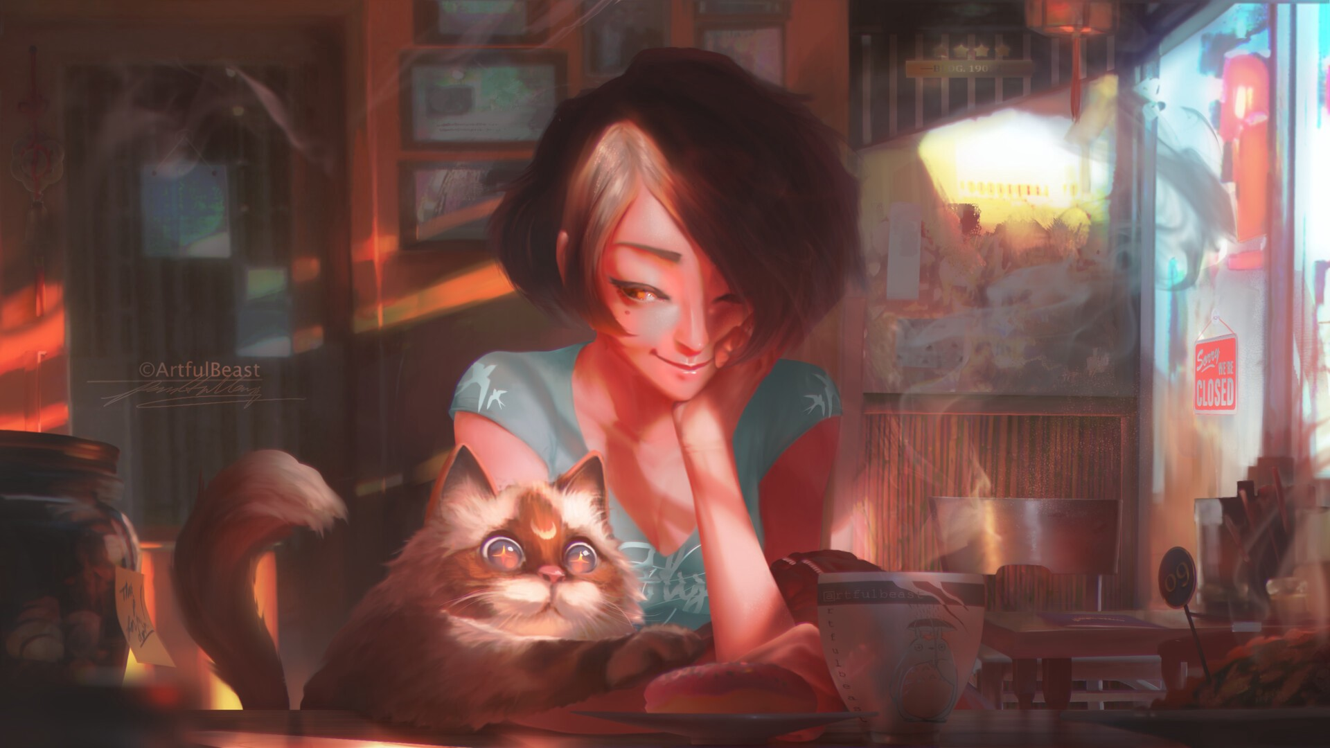 A girl at a café, about to have coffee. A cat beside her tries to grab something with its paw. Cat has a moon shaped spot.