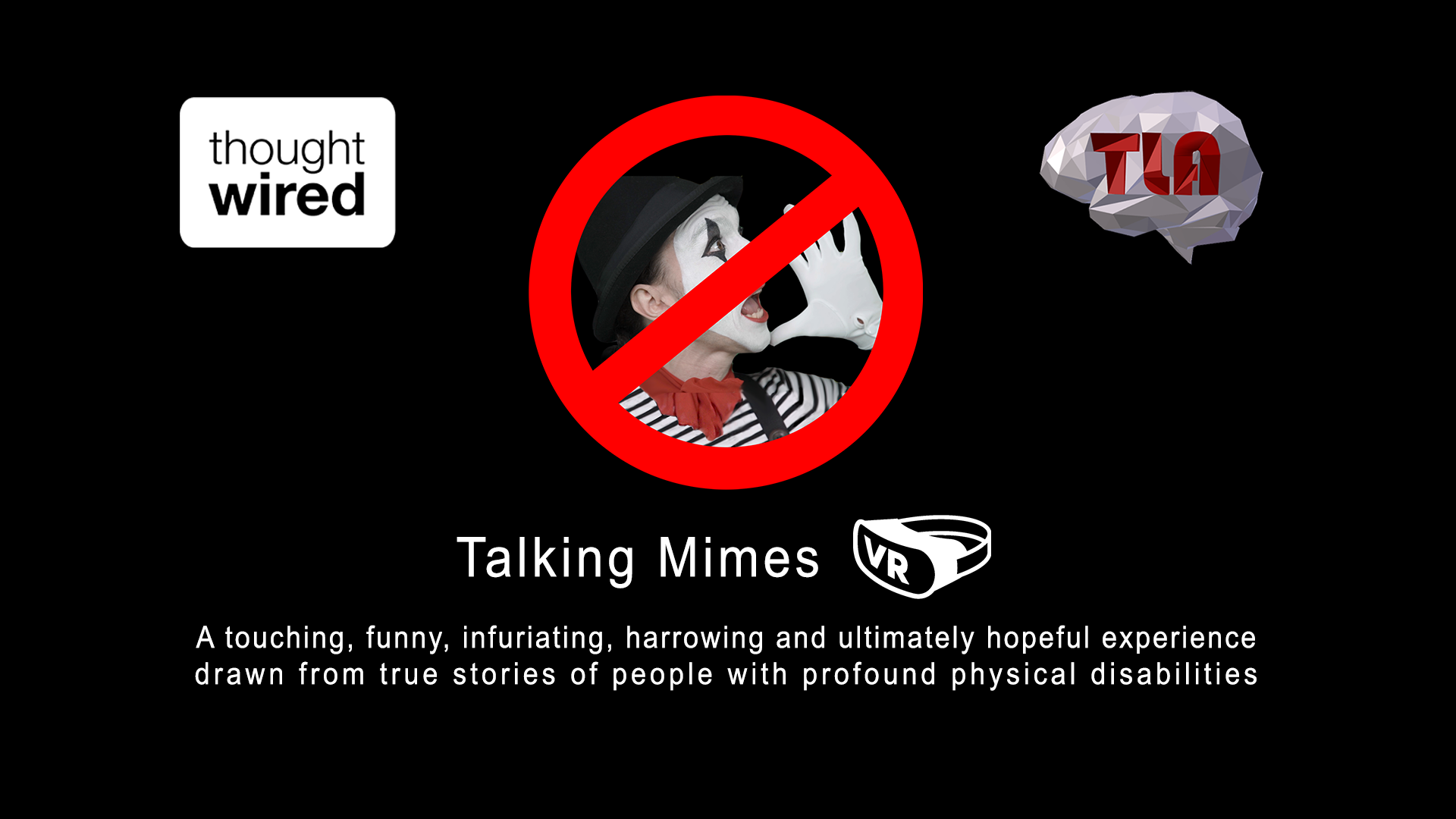 Talking Mimes VR poster with logos and blurb that can be found on https://talkingmimes.com