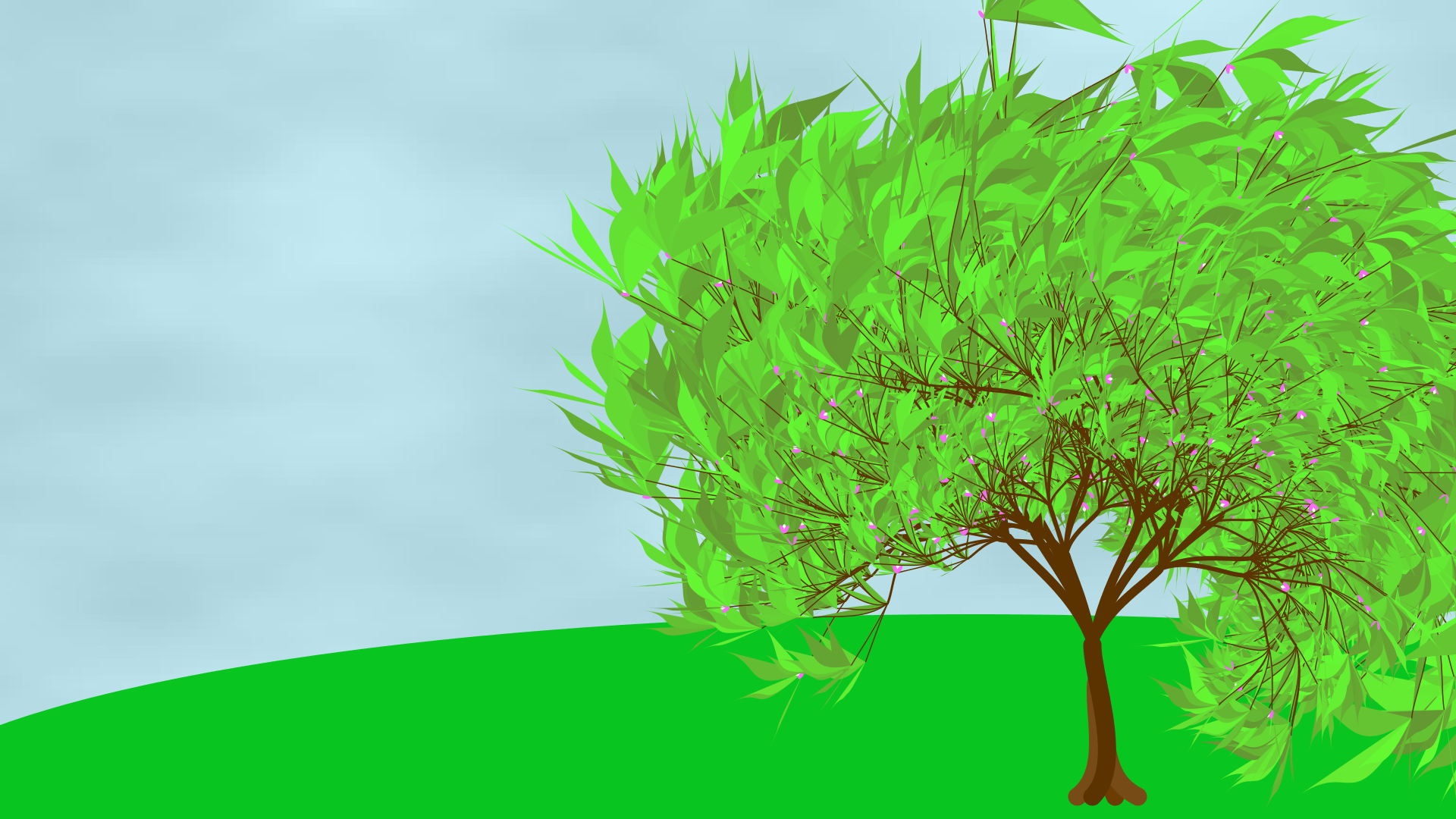 A recursively drawn tree on a hill.