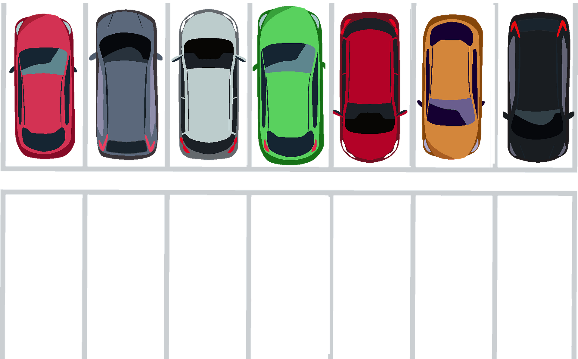 A parking lot, having all cars on the first row, and empty parking spots on the second row